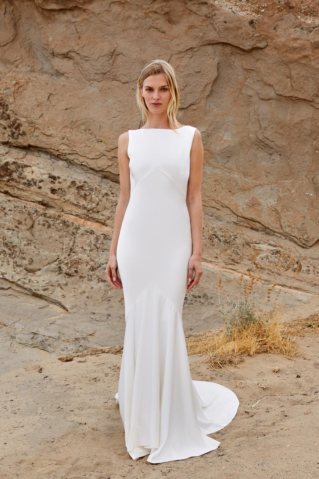savannah miller fall 2018 boat neck column wedding dress