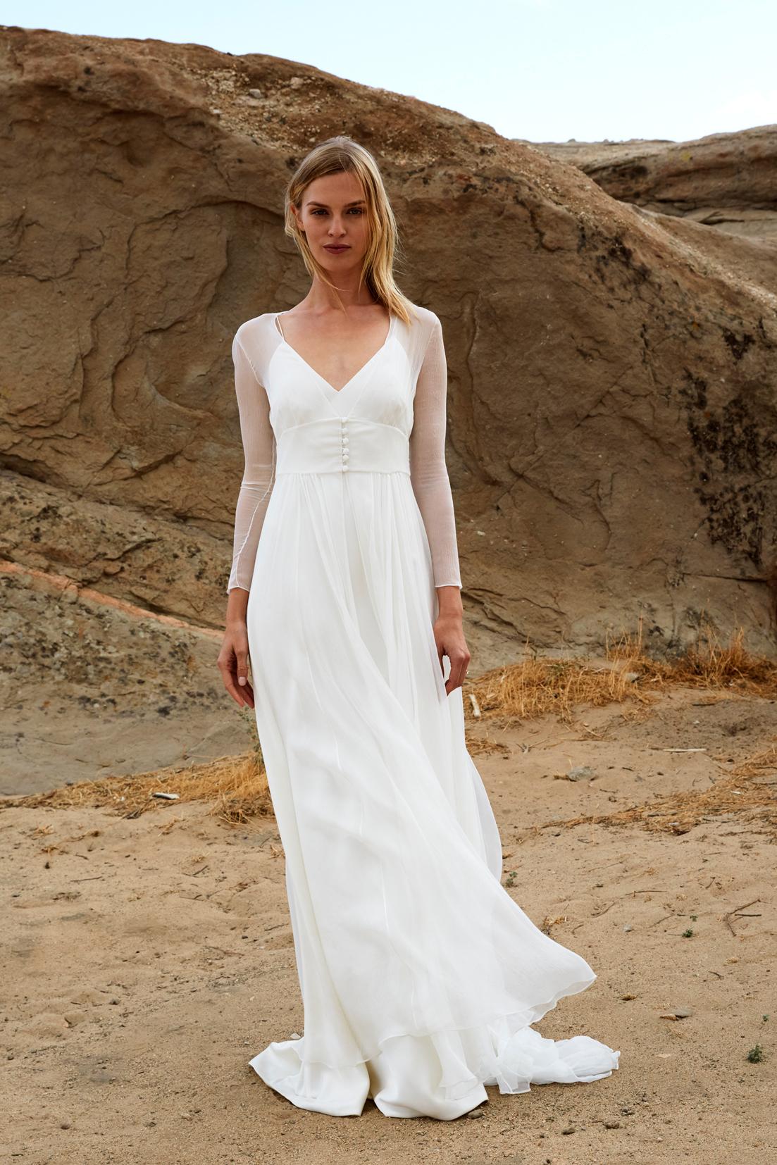 savannah miller fall 2018 spaghetti strap chiffon overlay wedding dress