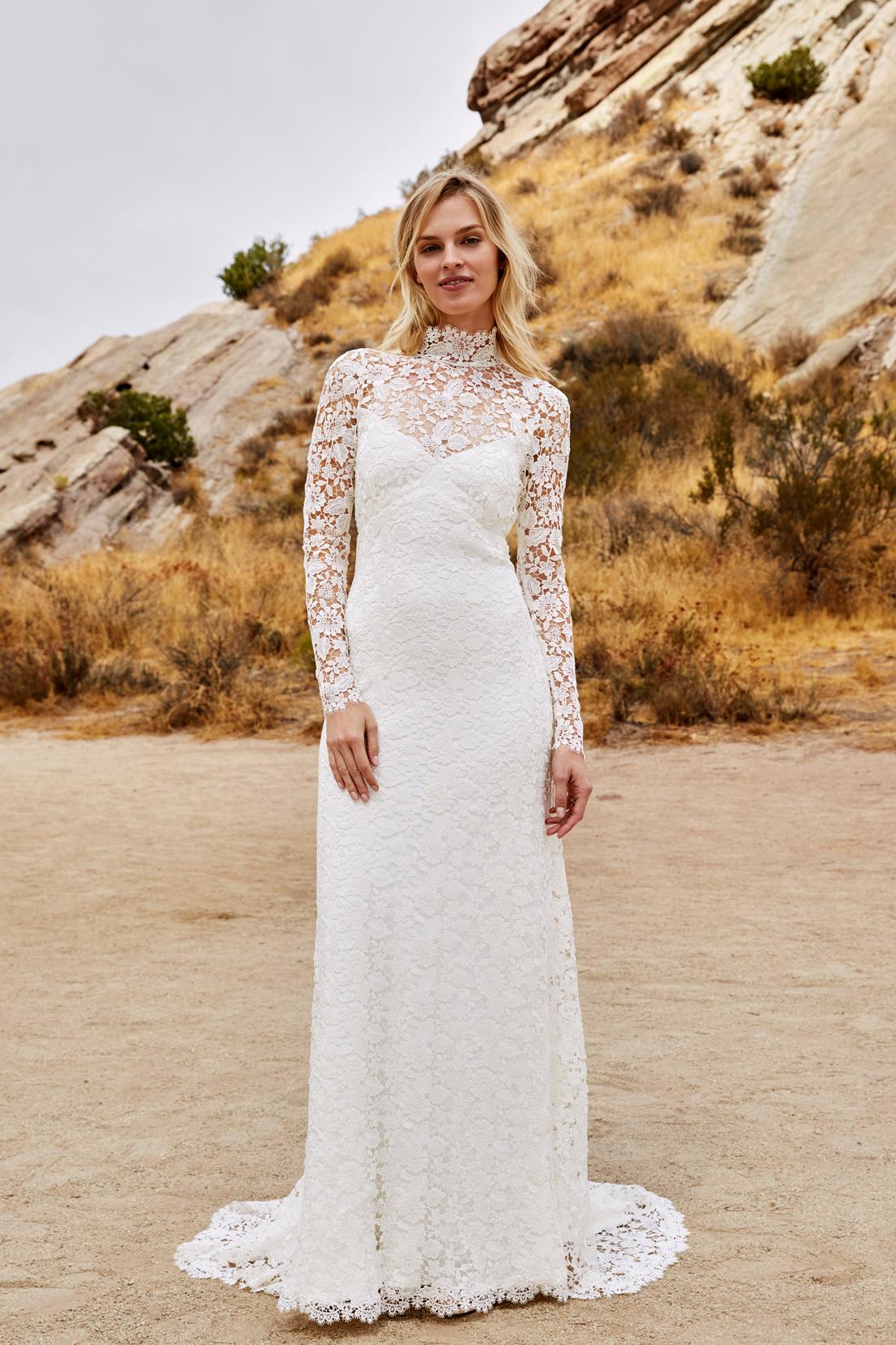 savannah miller fall 2018 long sleeve high neck lace wedding dress