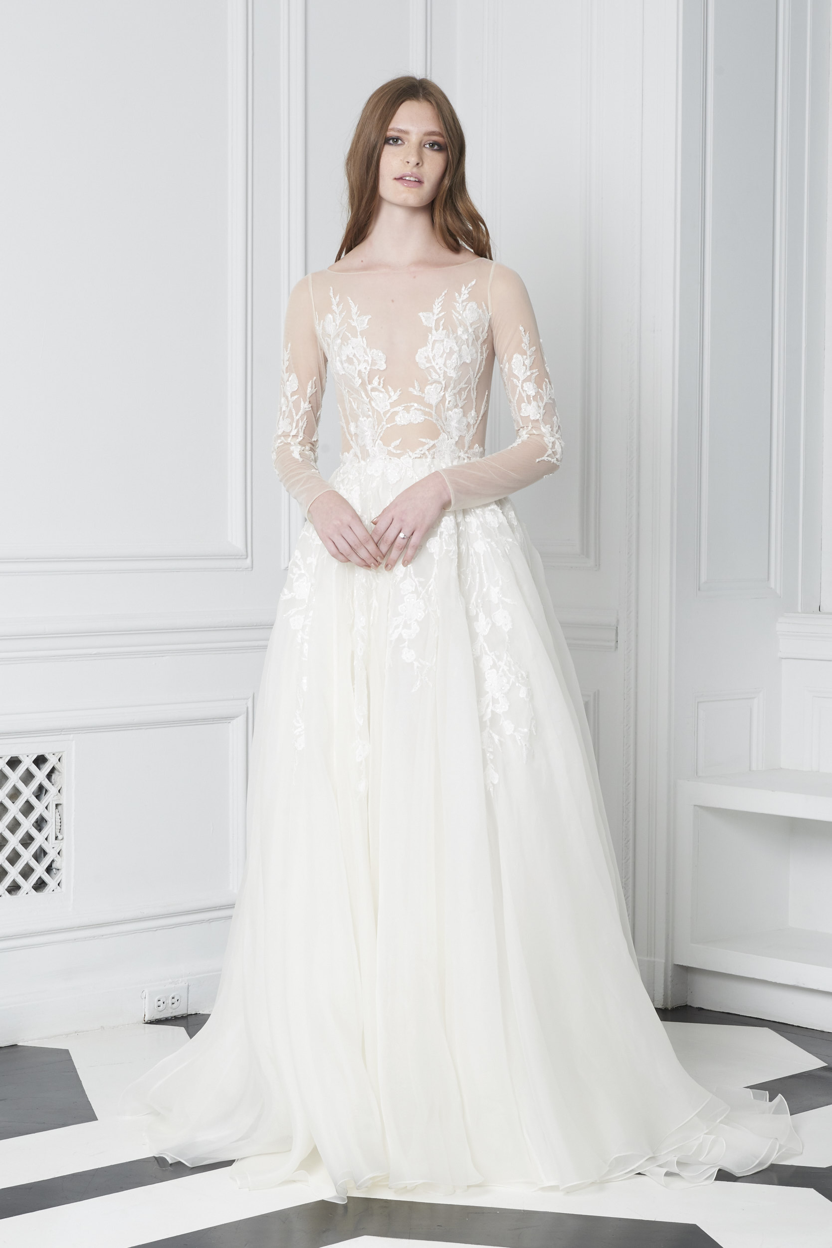 Monique Lhuillier Bliss Fall 2018 Embroidered Ball Gown Wedding Dress with Sheer Long Sleeves
