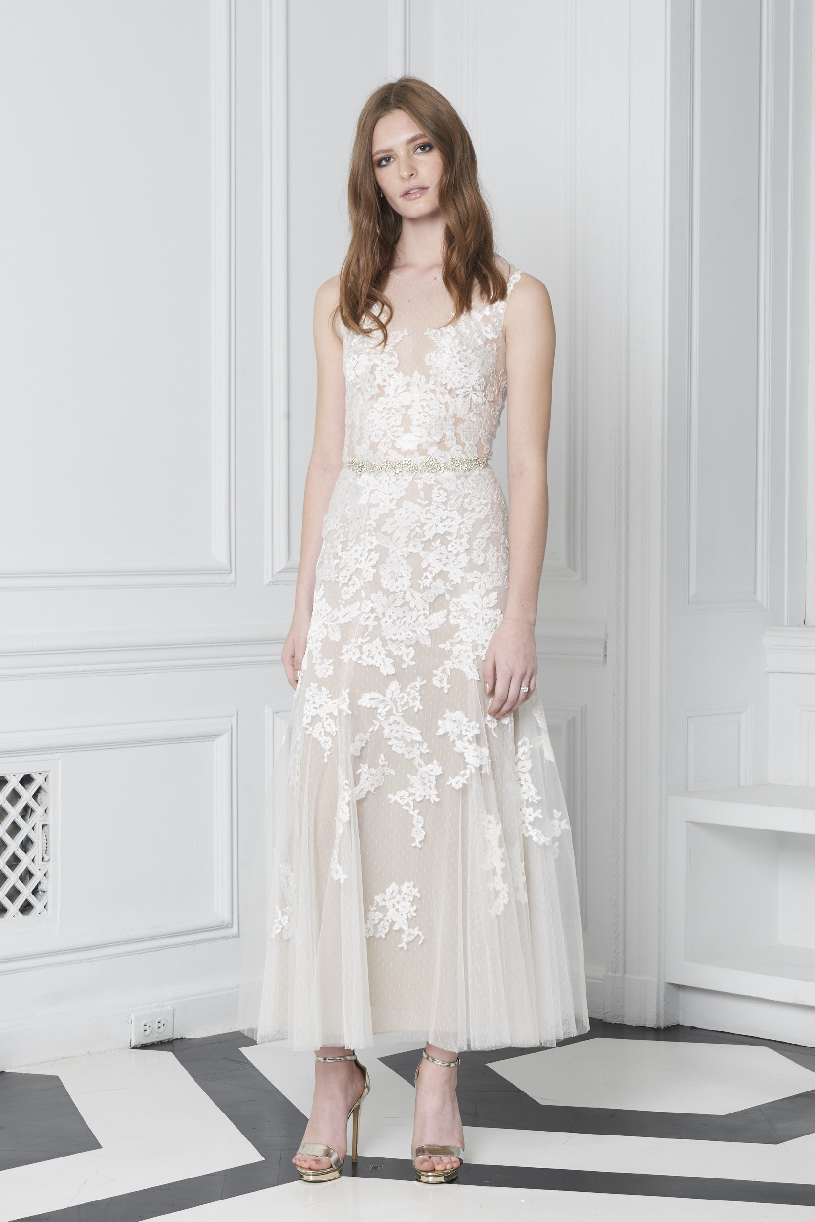 Monique Lhuillier Bliss Fall 2018 Tea-Length Embroidered A-Line Wedding Dress