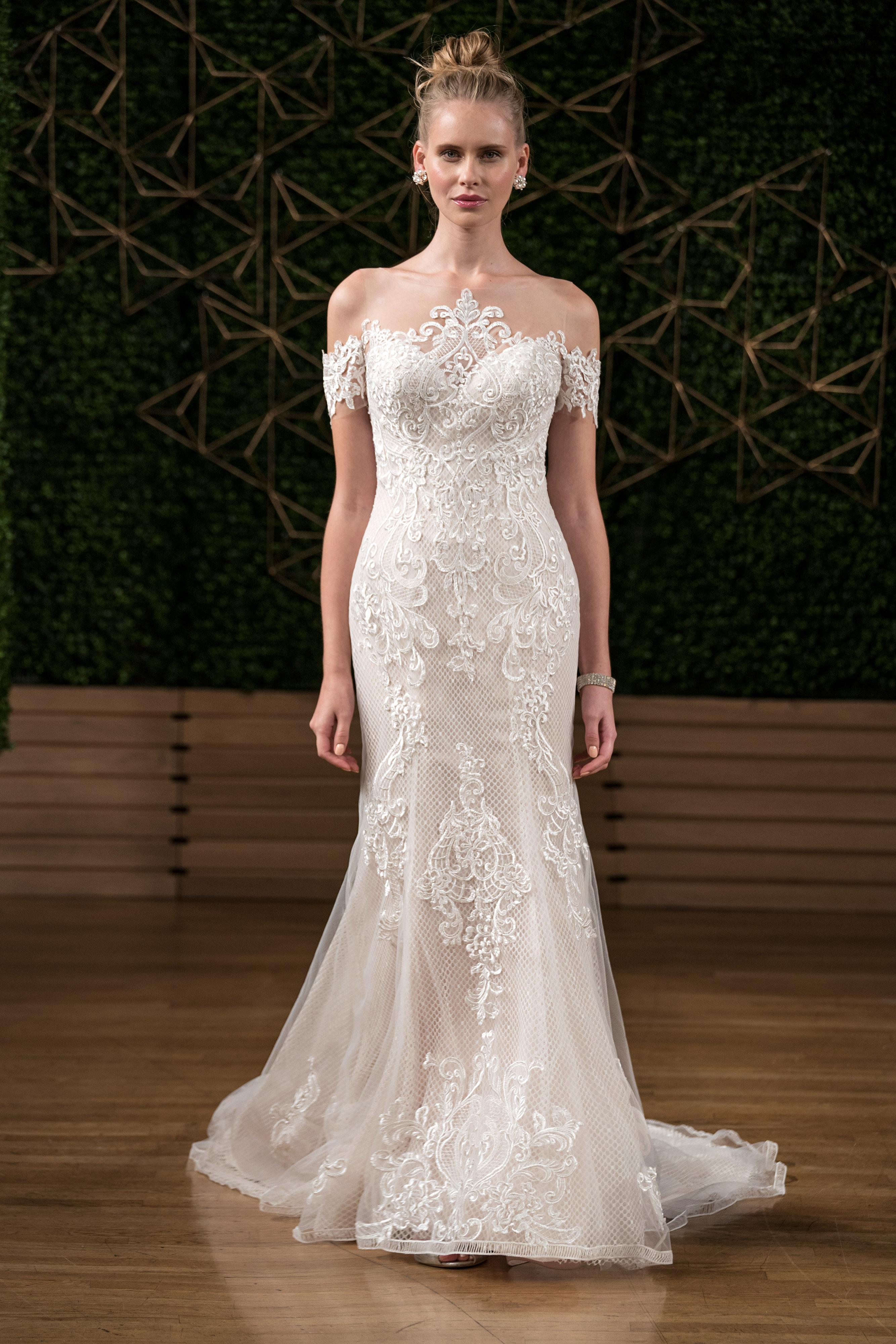 sottero midgley wedding dress fall 2018 off the shoulder lace trumpet