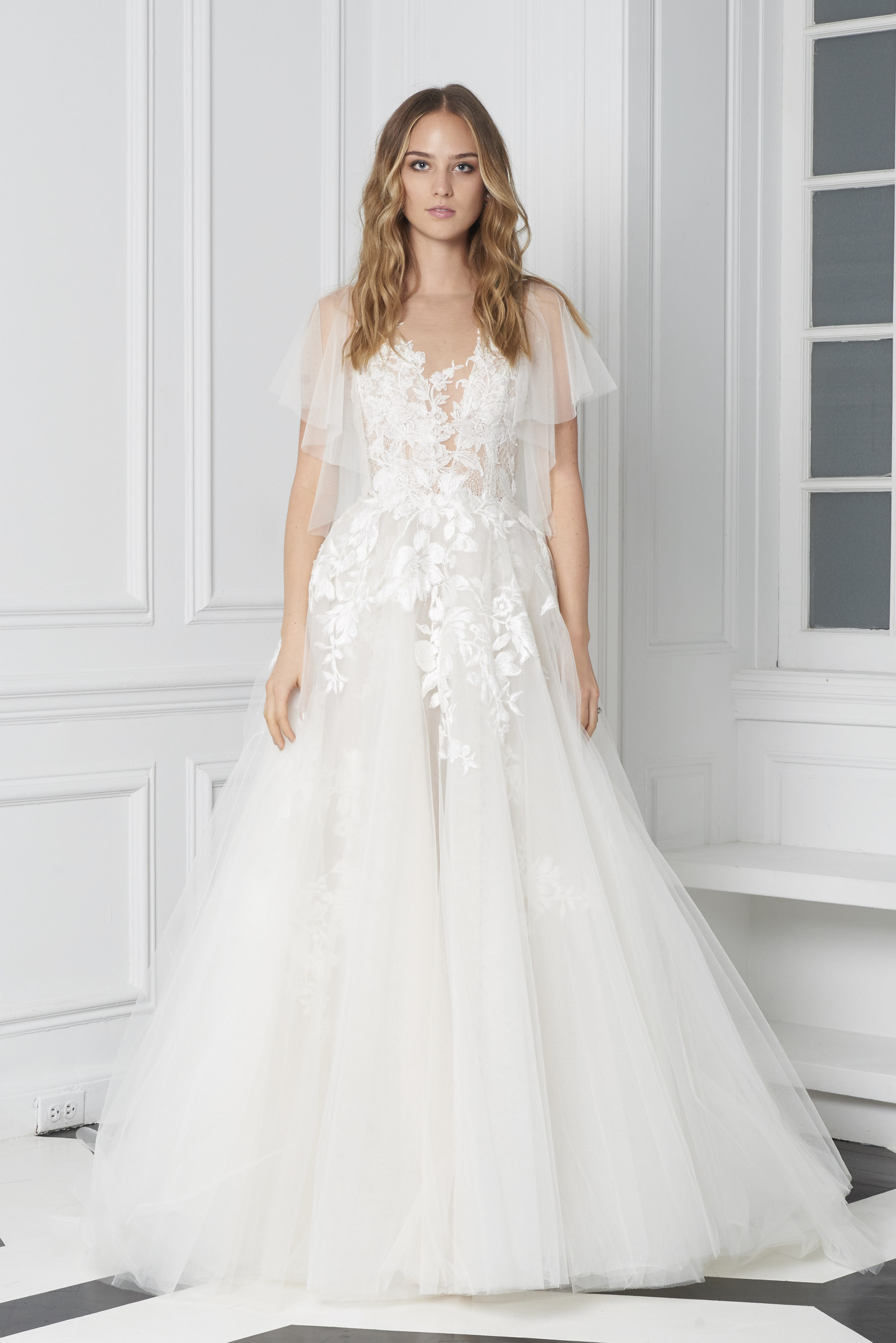 Monique Lhuillier Bliss Fall 2018 Embroidered Ball Gown with Flutter Sleeves