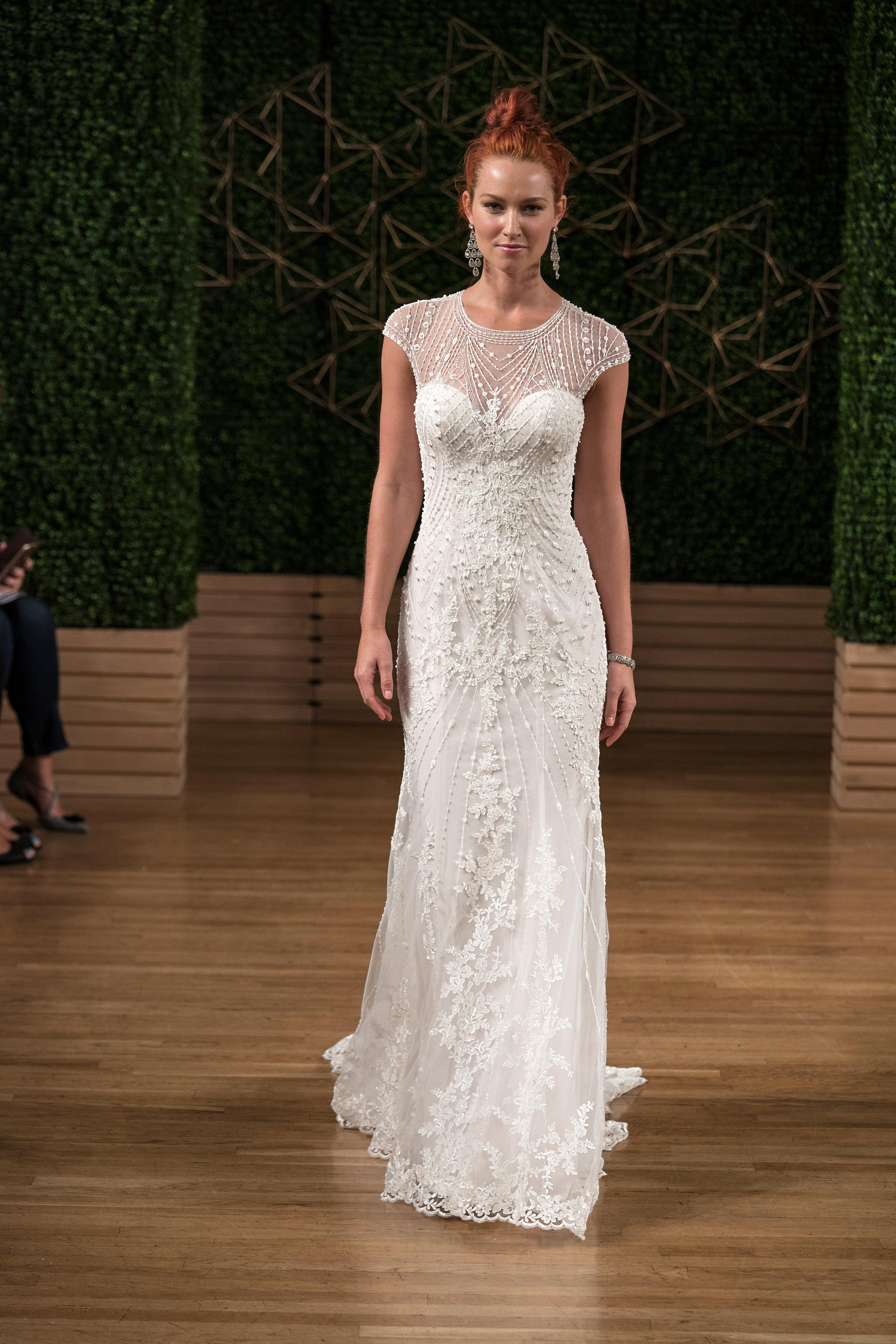 sottero midgley wedding dress fall 2018 cap sleeves illusion beading