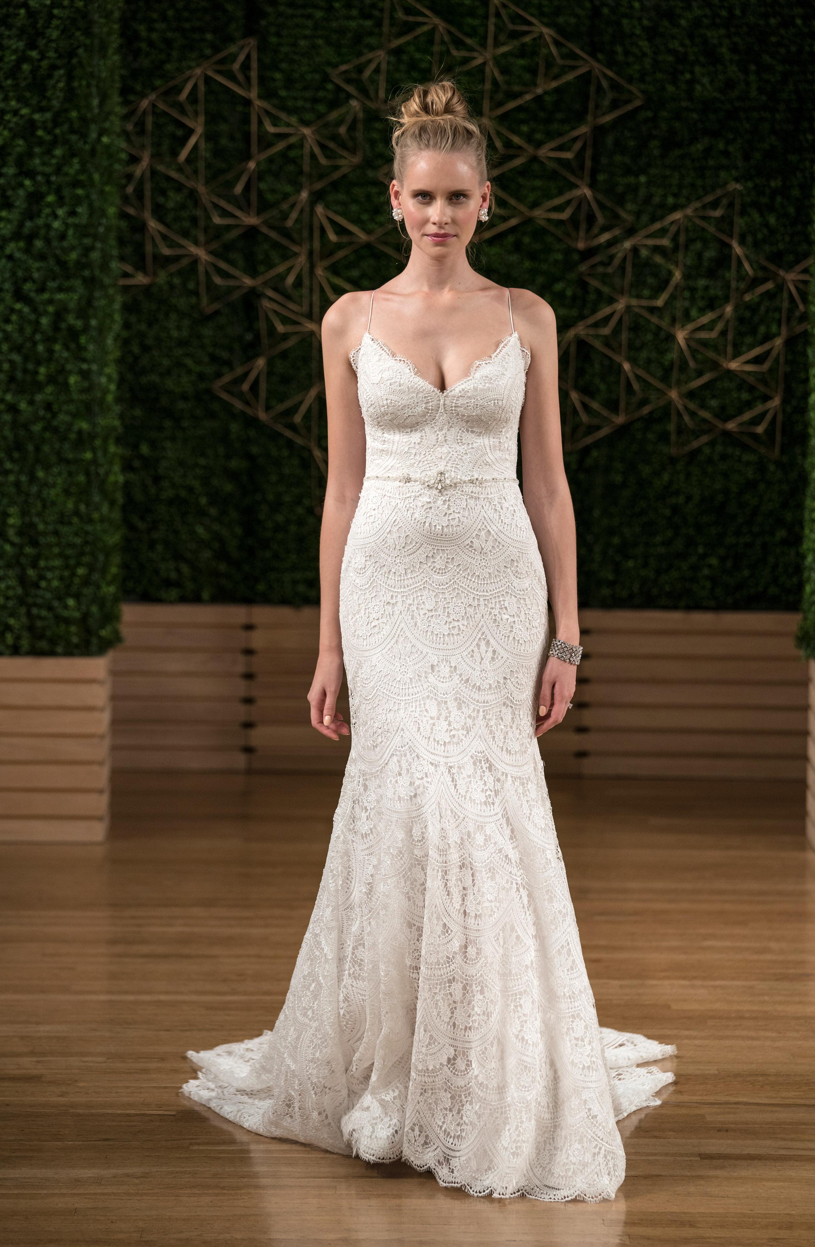 sottero midgley wedding dress fall 2018 spaghetti strap mermaid lace