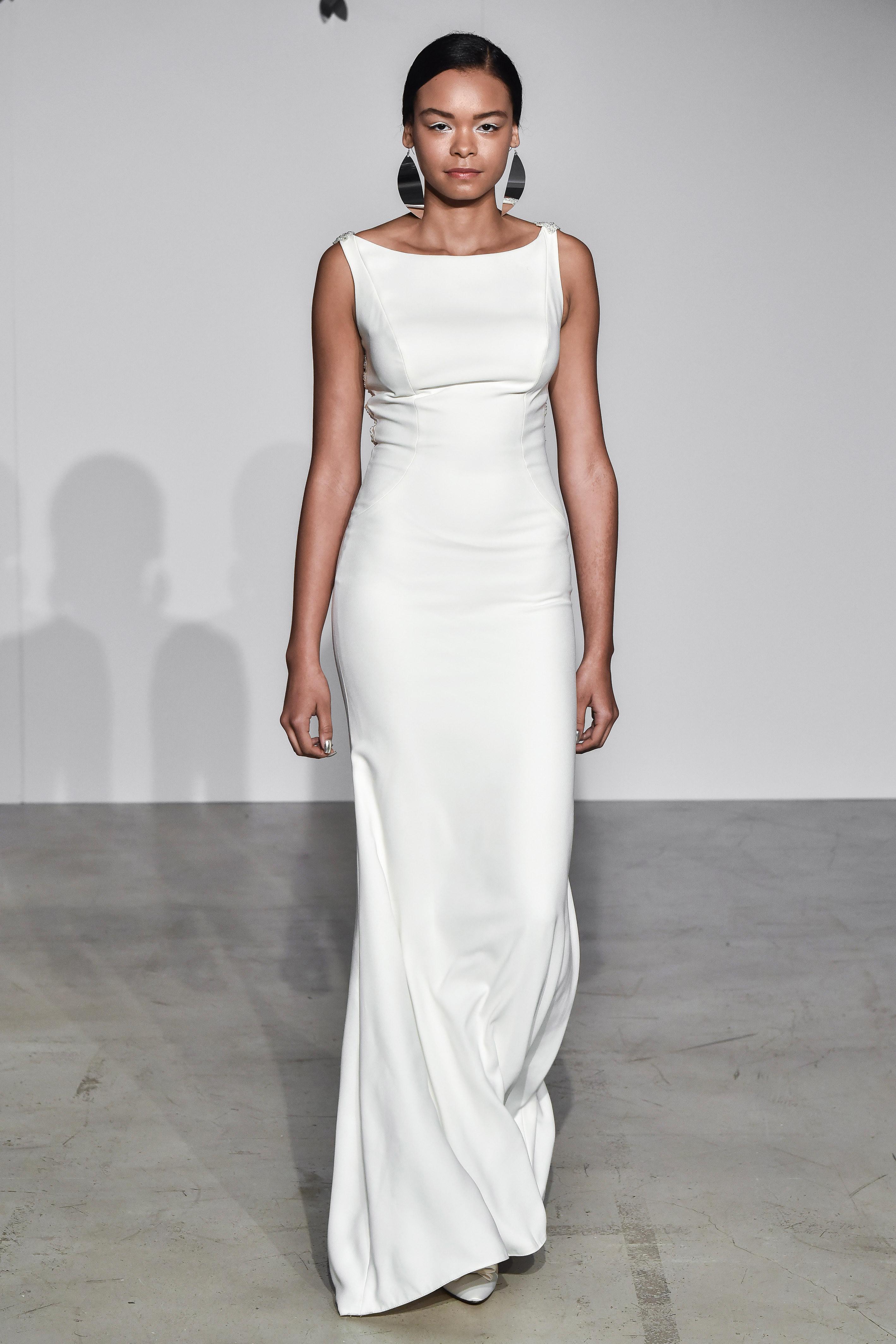 justin alexander fall 2018 boat neck column wedding dress