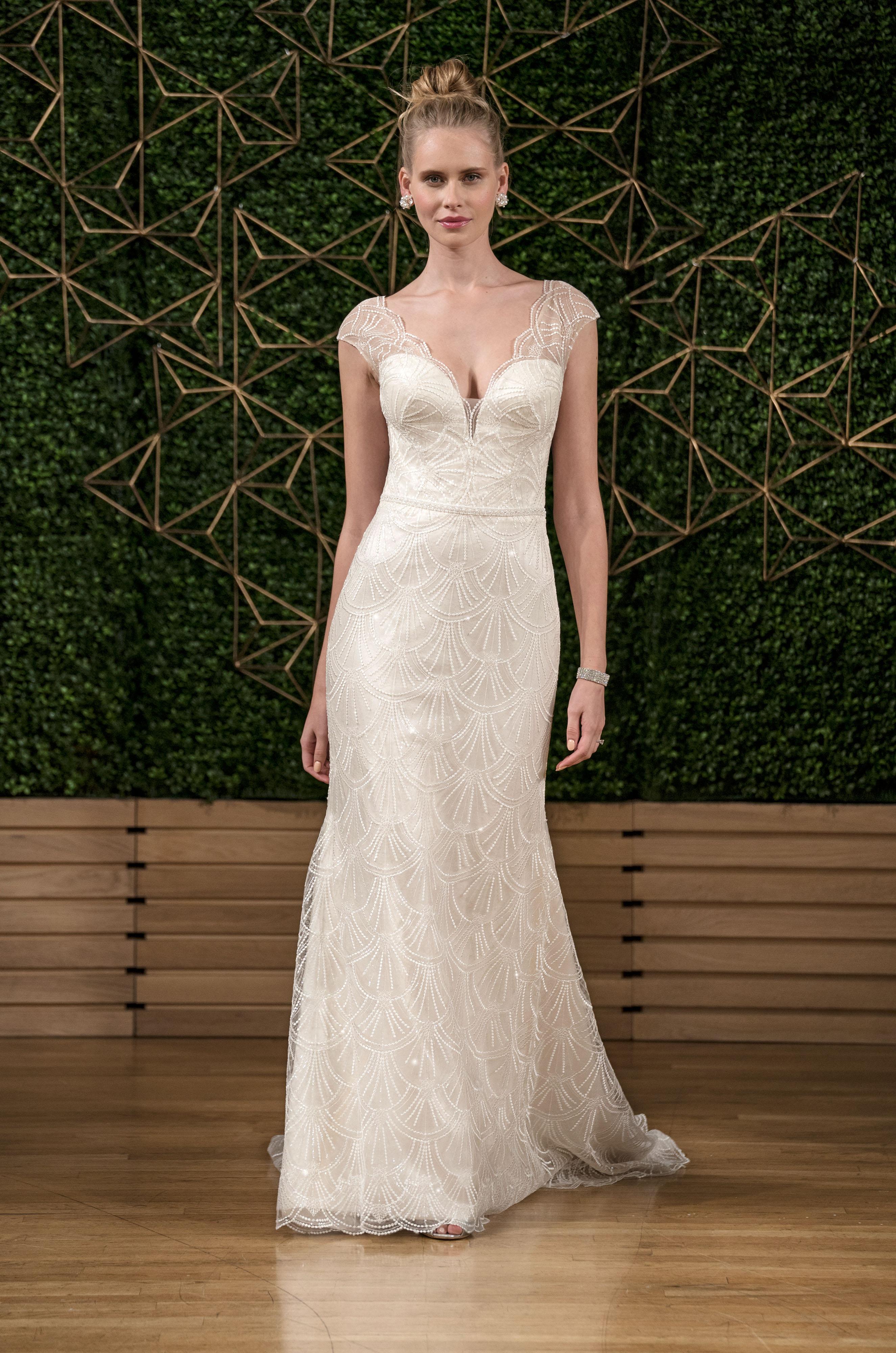 sottero midgley wedding dress fall 2018 beading cap sleeves v neck