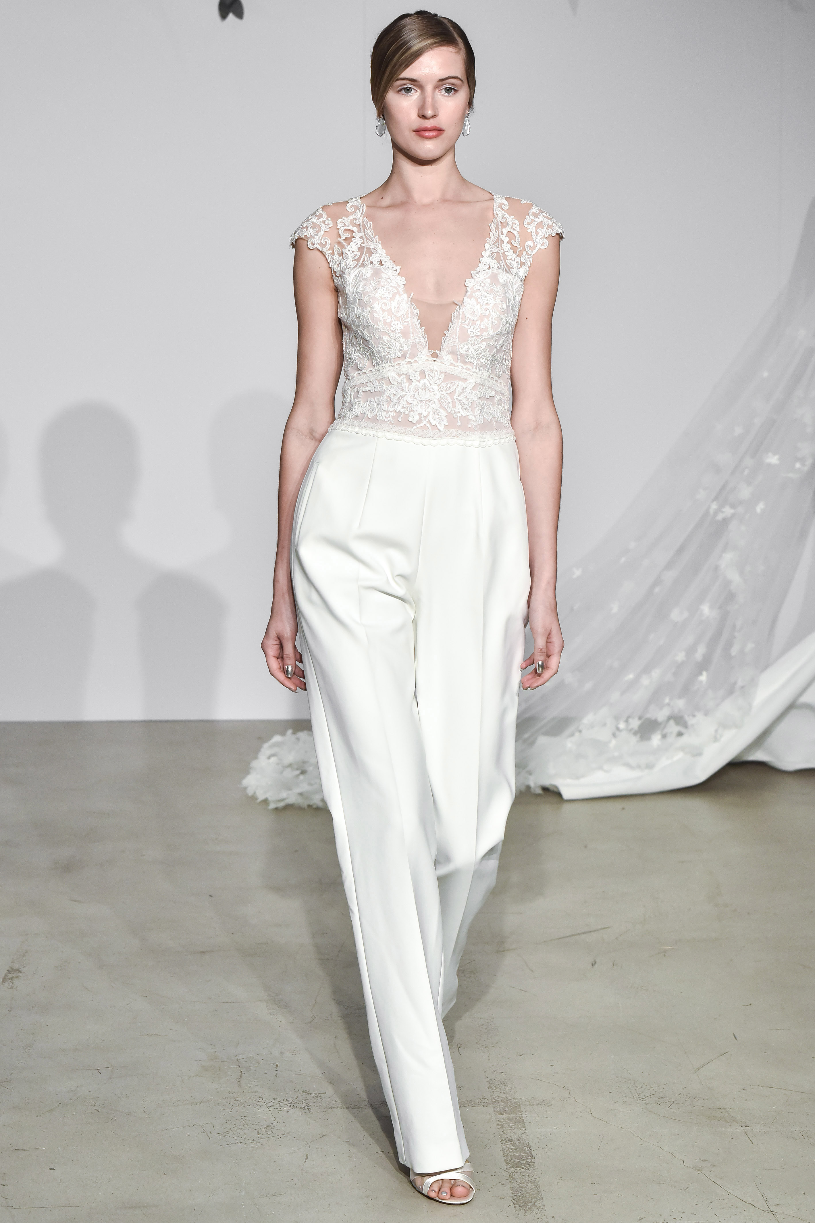 justin alexander fall 2018 lace pantsuit wedding dress