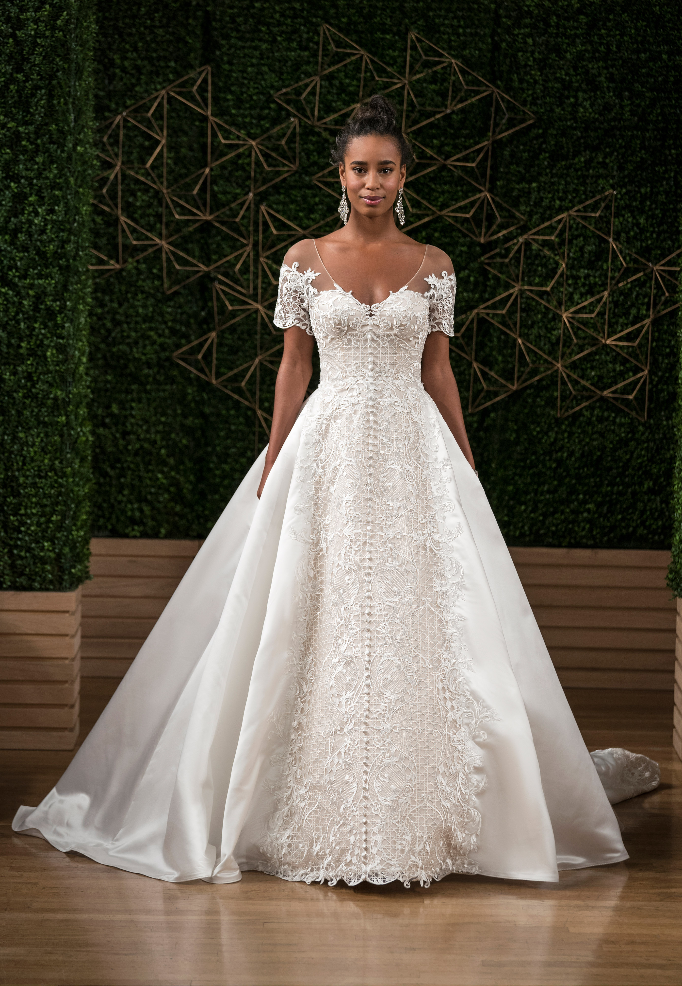 sottero midgley wedding dress fall 2018 off the shoulder ball gown buttons lace
