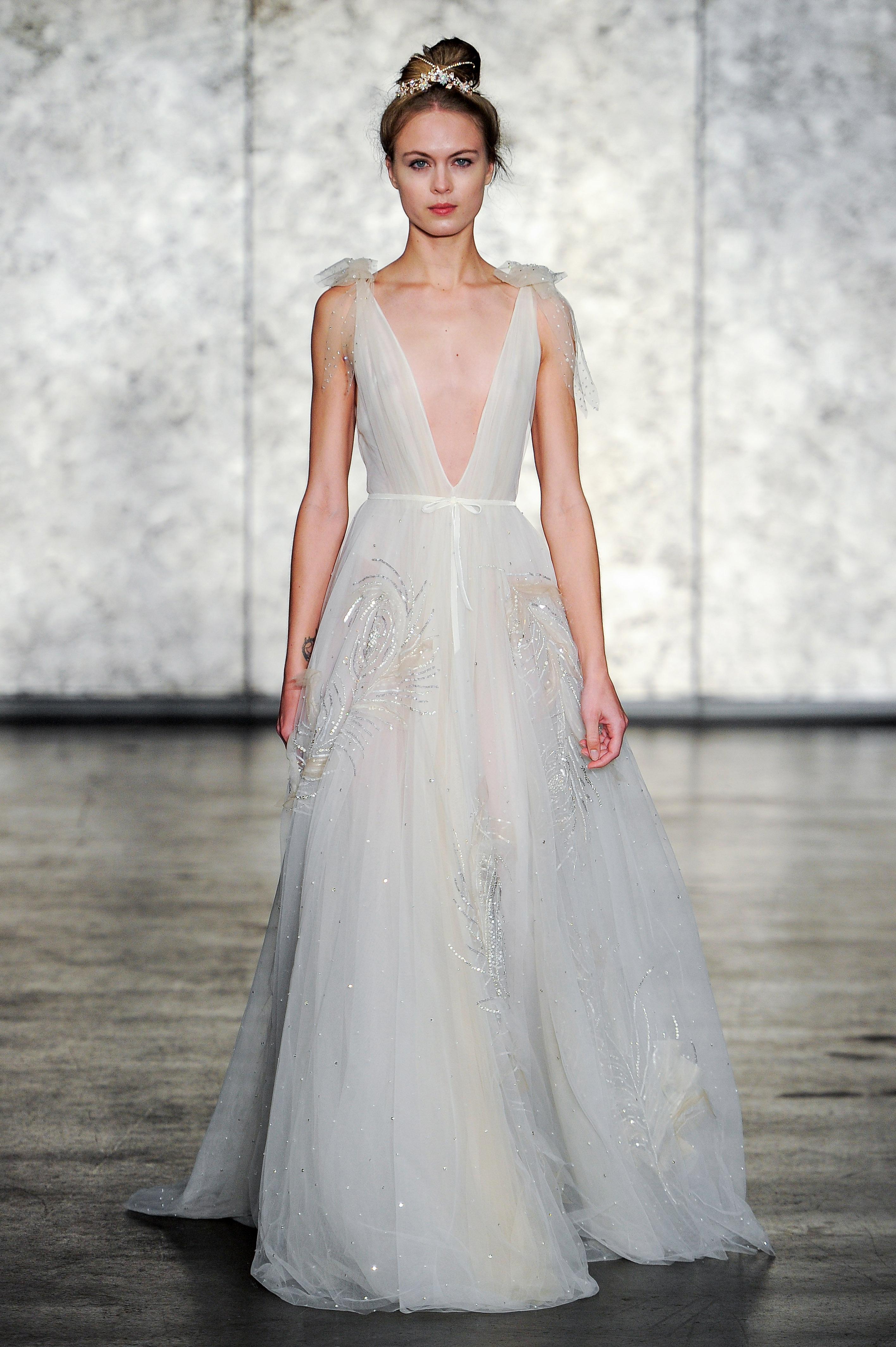 inbal dror wedding dress fall 2018 deep v shoulder bows a-line