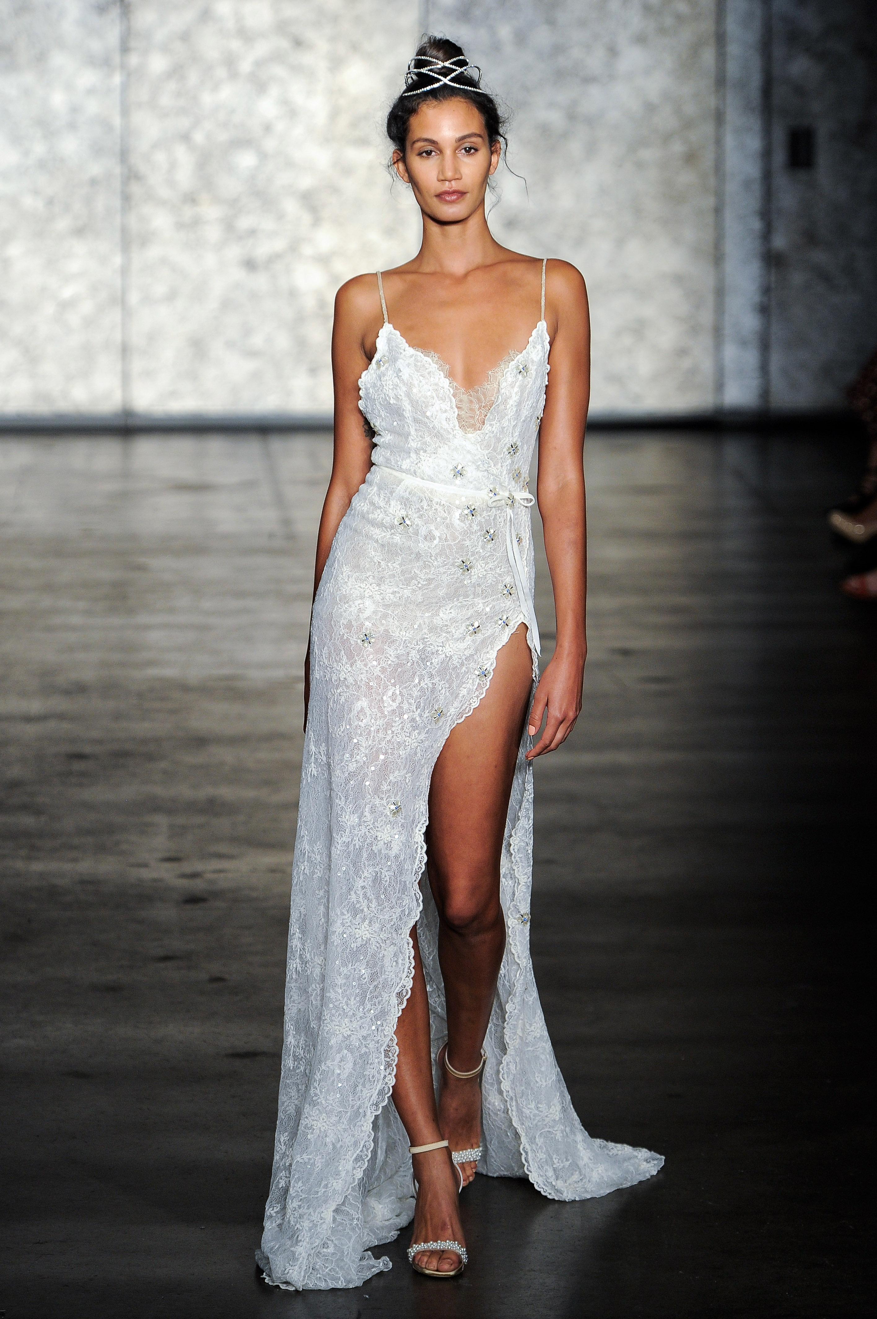 inbal dror wedding dress fall 2018 beaded spaghetti straps slit