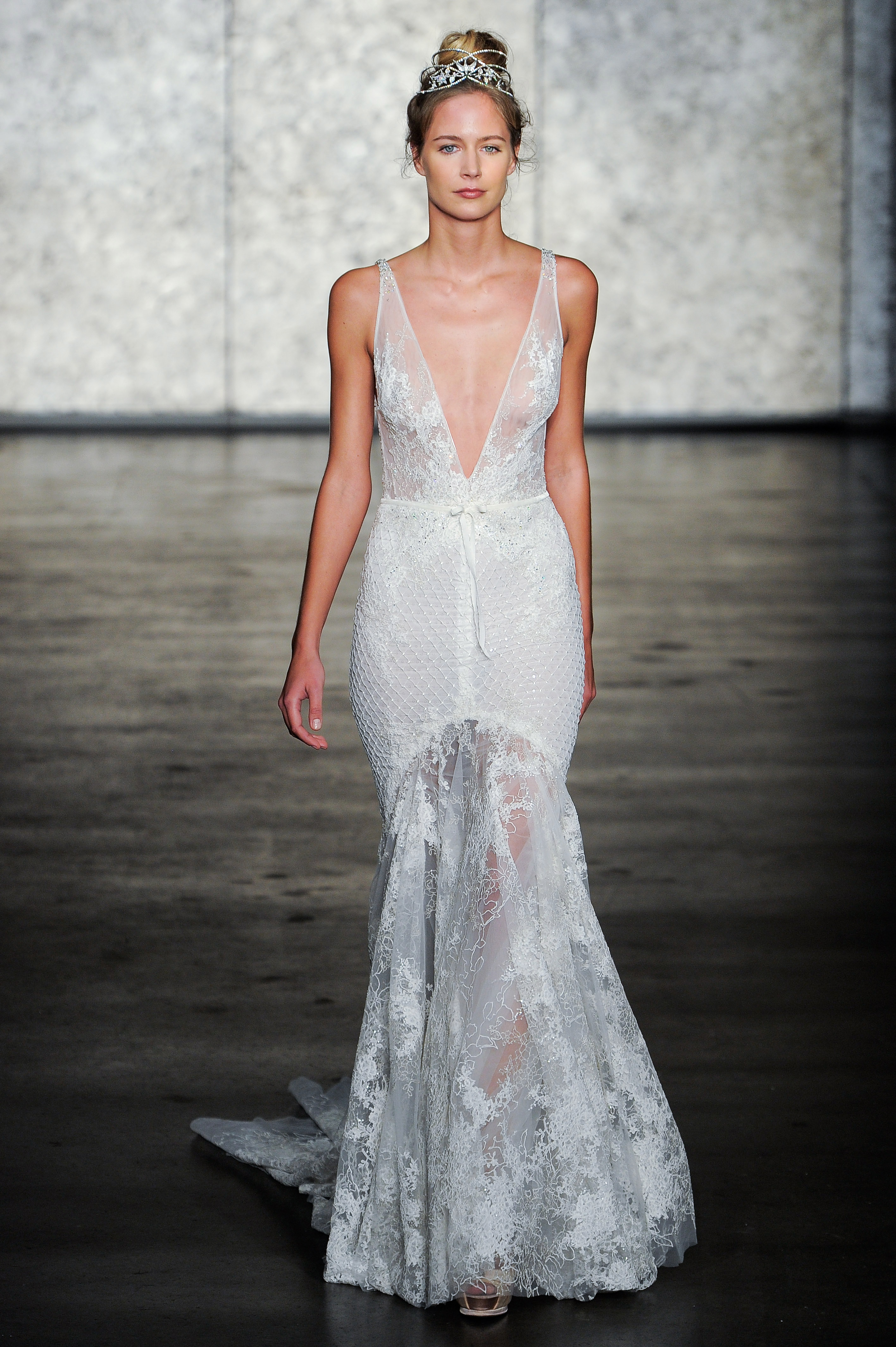 inbal dror fall 2018 plunging v-neck lace wedding dress