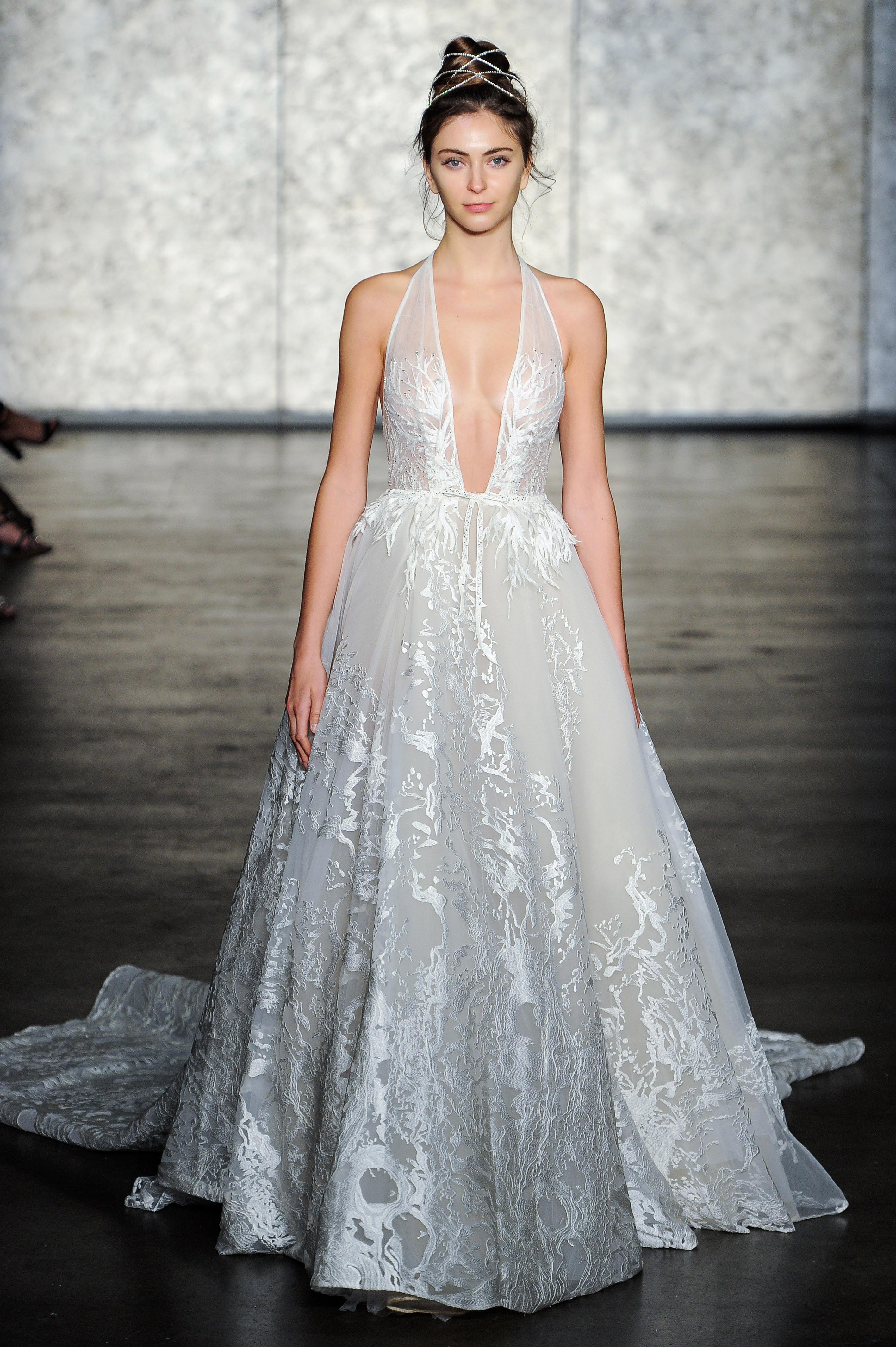 inbal dror fall 2018 v-neck ball gownl wedding dress