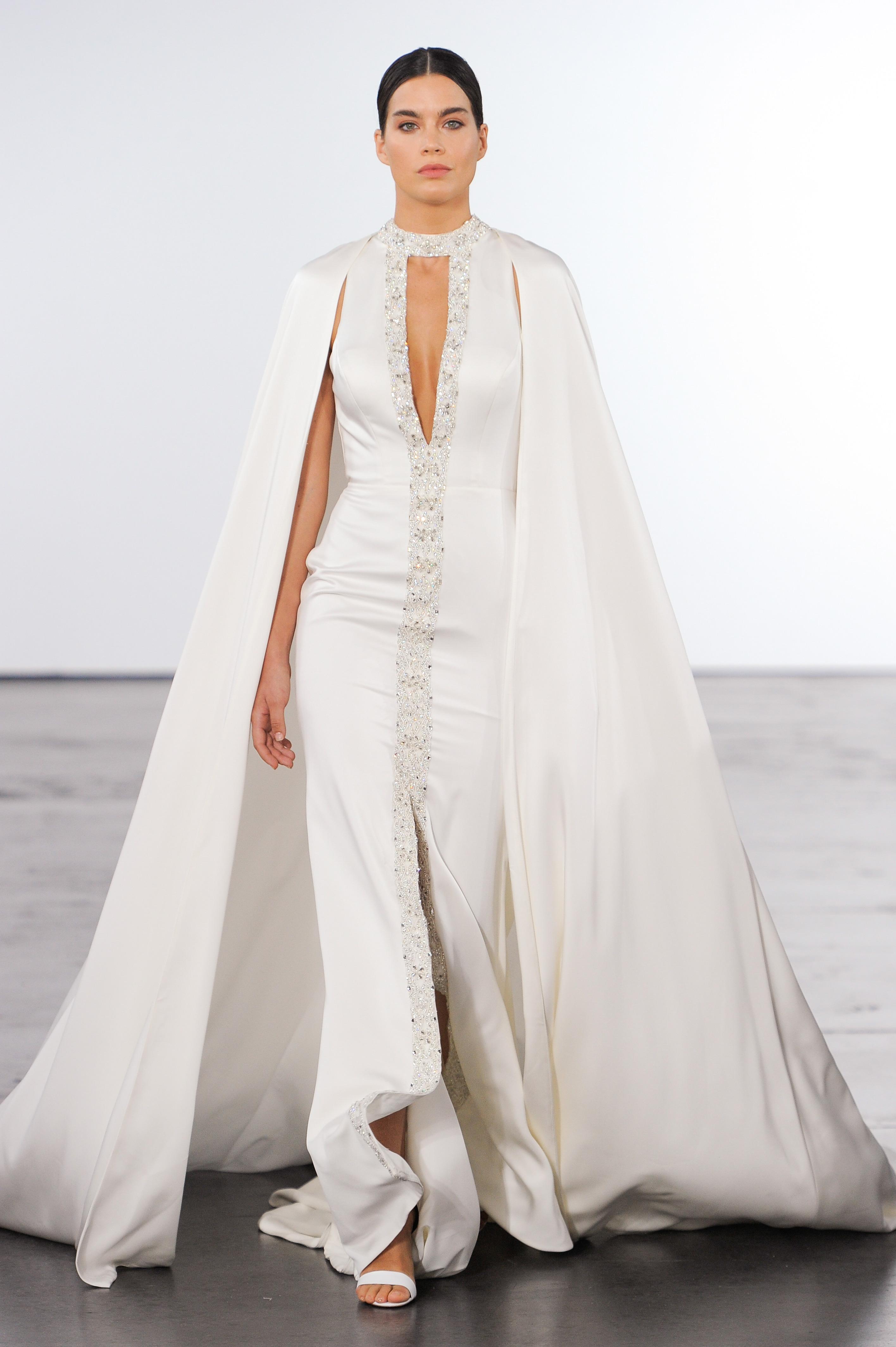 dennis basso wedding dress long sheath high neck