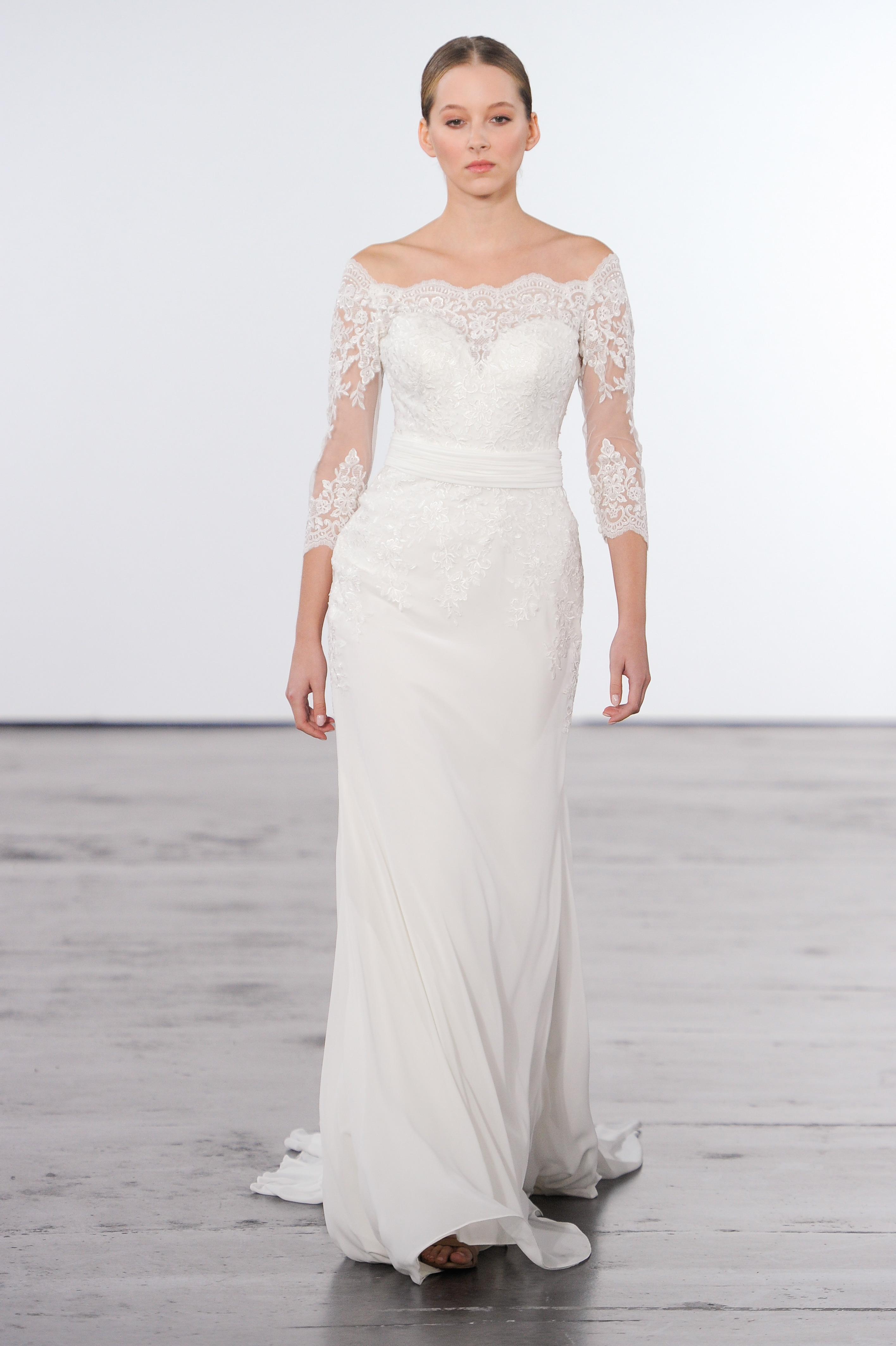 dennis basso wedding dress long sleeve off the shoulder