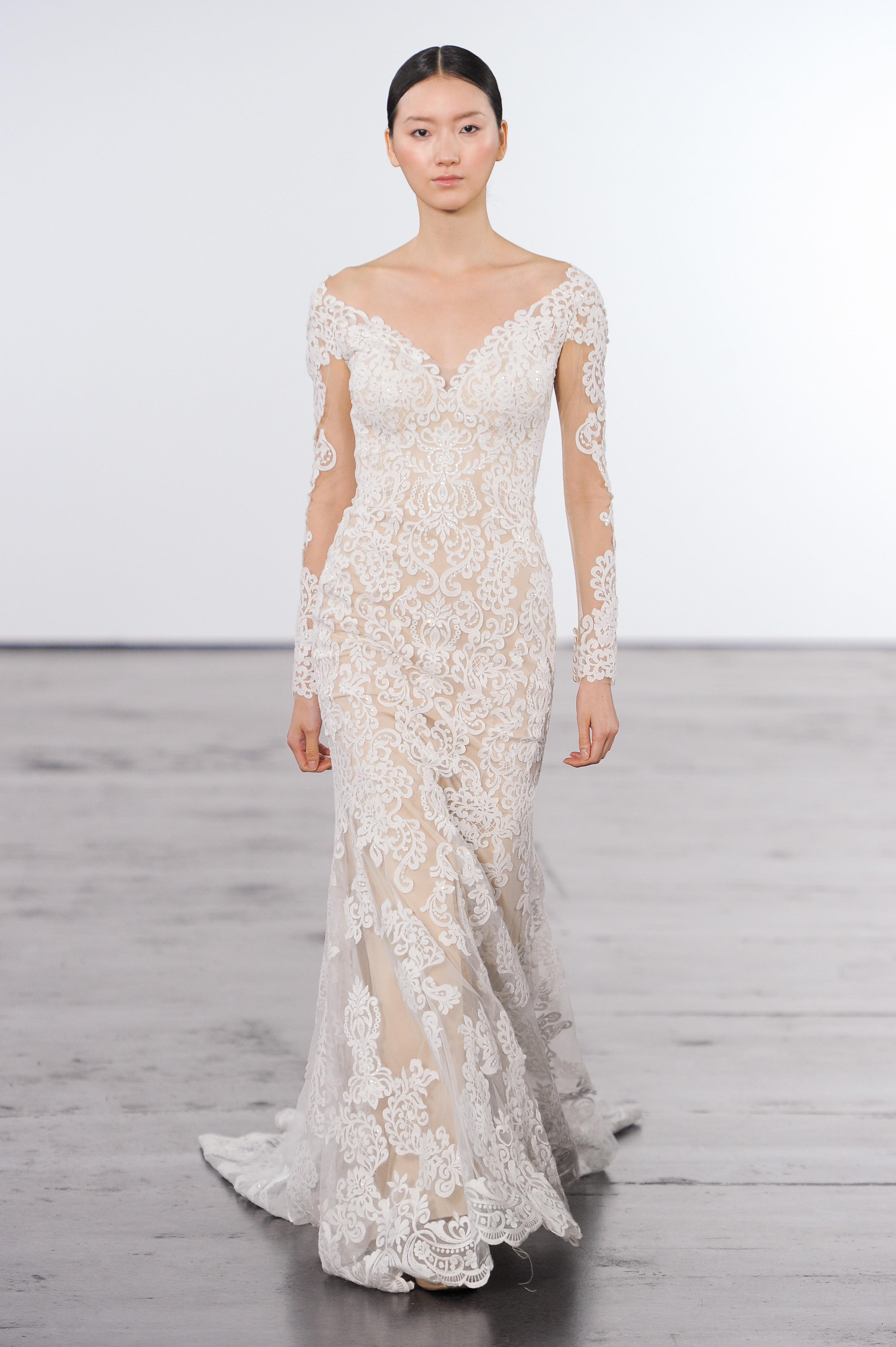 dennis basso wedding dress fall 2018 lace sheath v-neck