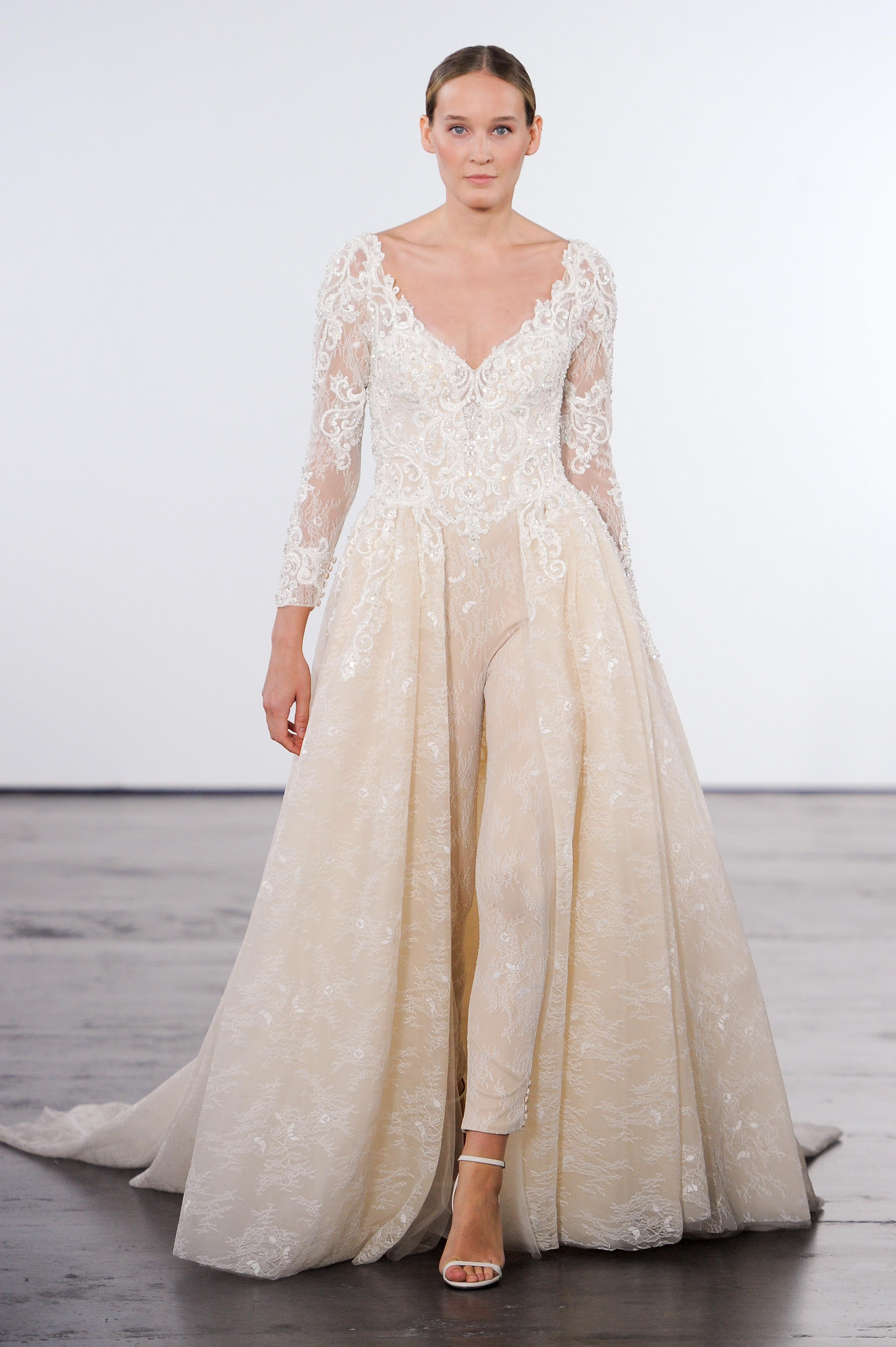 dennis basso wedding dress fall 2018 v-neck