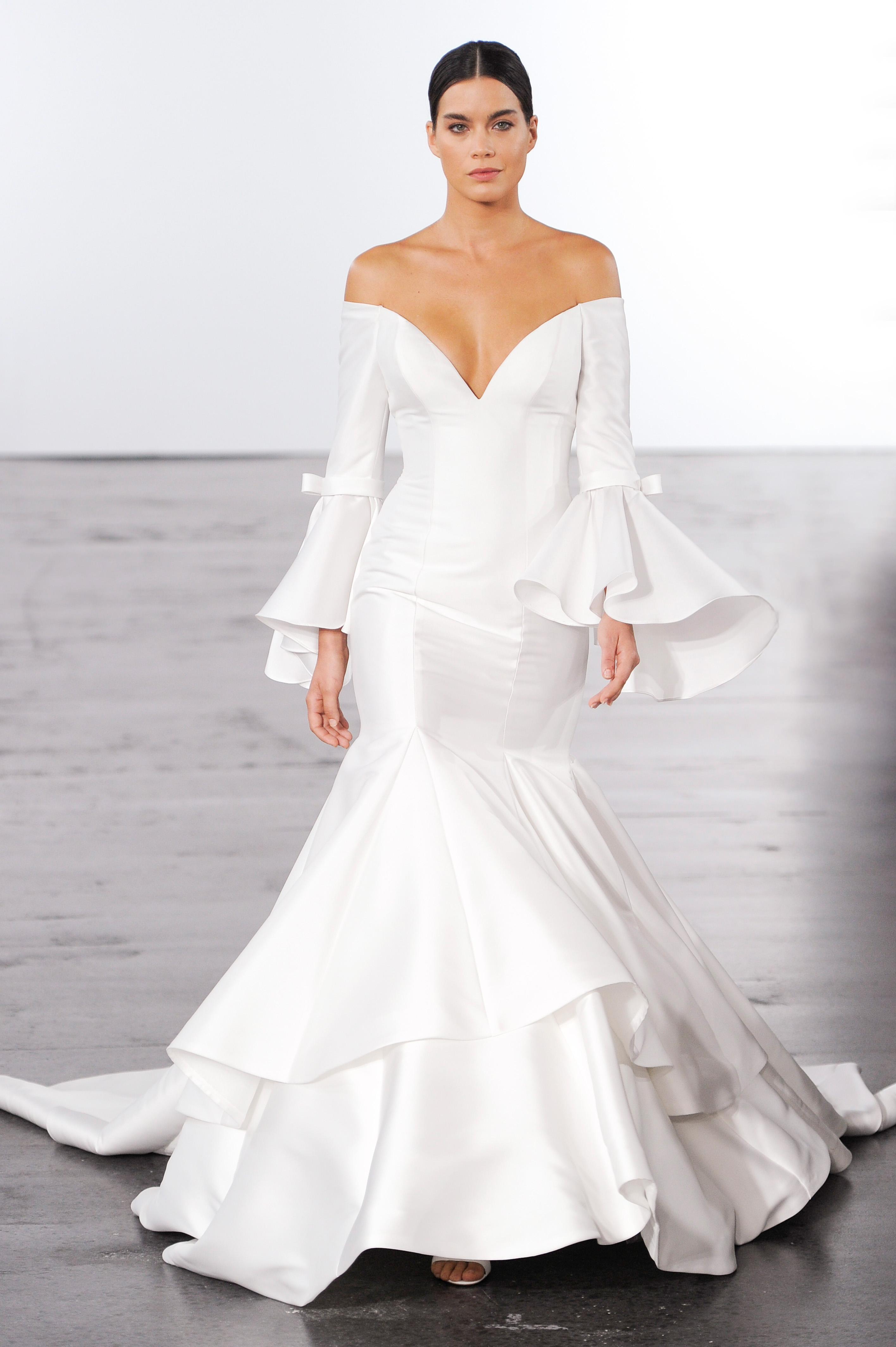 dennis basso trumpet wedding dress with bell sleeves wedding fall 2018