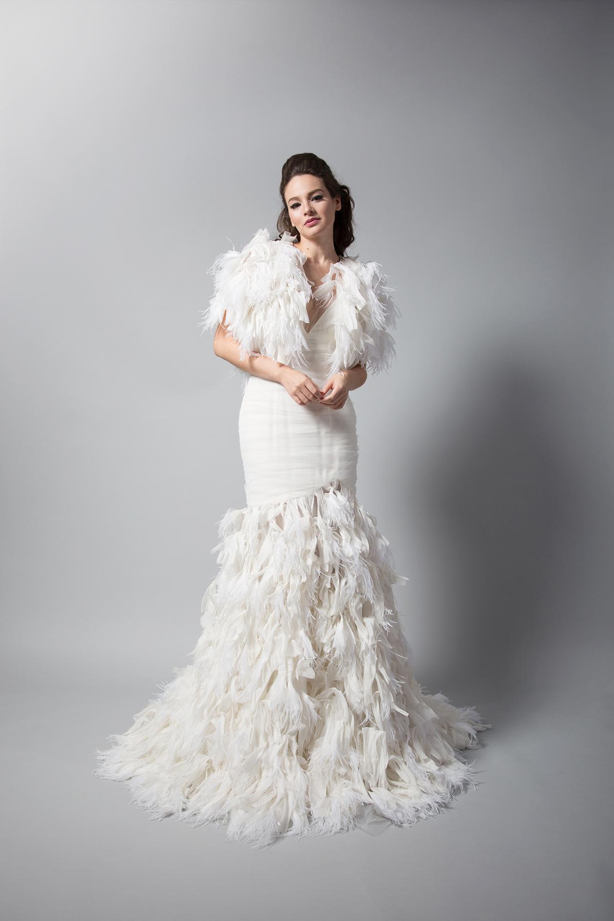 randi rahm trumpet wedding dress with feathers fall 2018
