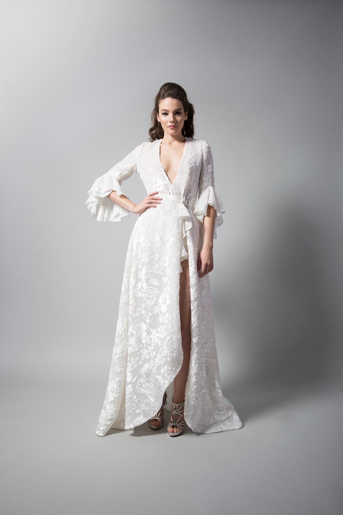 randi rahm three-quarter length bell sleeves wedding dress with high slit fall 2018