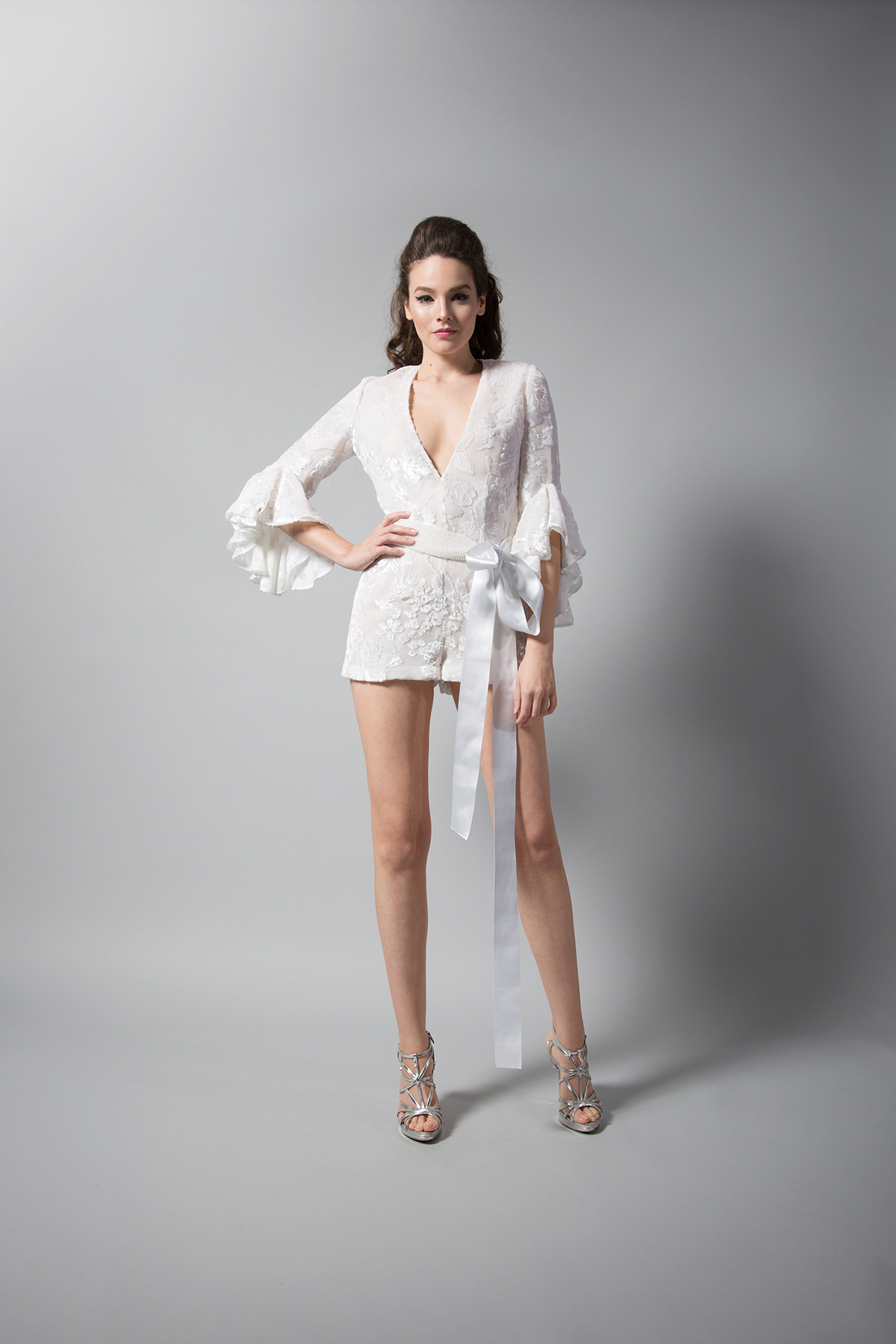 randi rahm three-quarter length bell sleeves romper with tie fall 2018