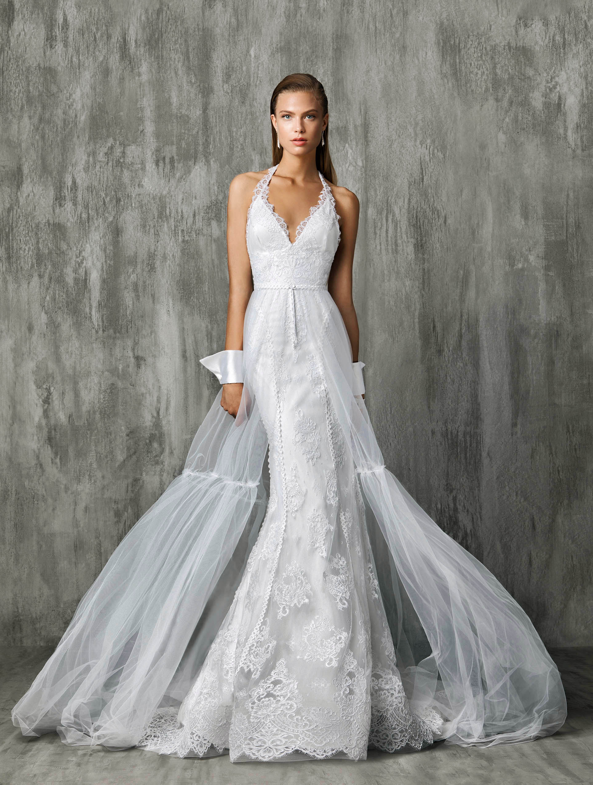 Victoria Kyriakides V-Neck with Sheer Train Wedding Dress Fall 2018