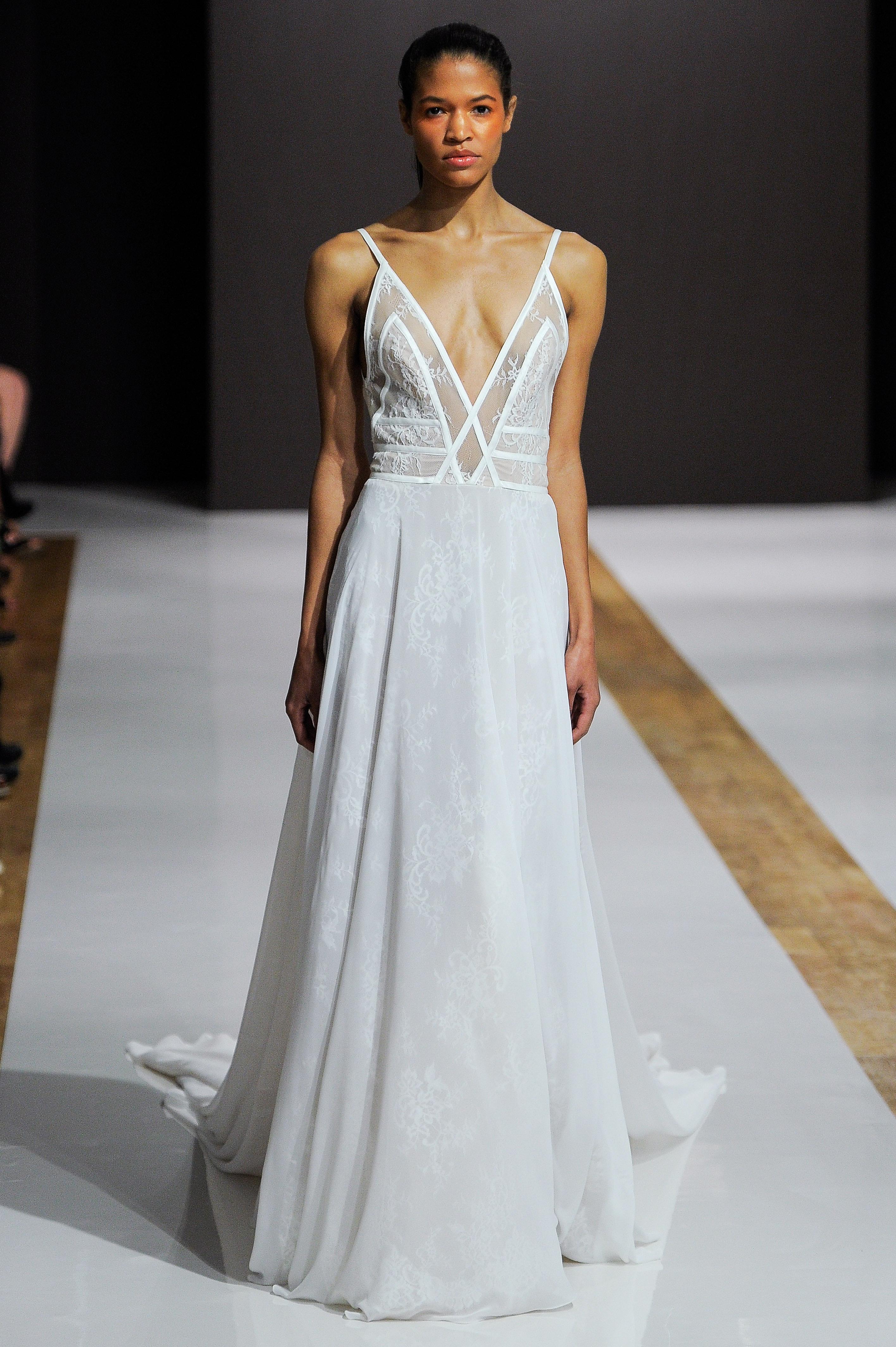 mark zunino wedding dress fall 2018 spaghetti strap deep v sheer panelsr