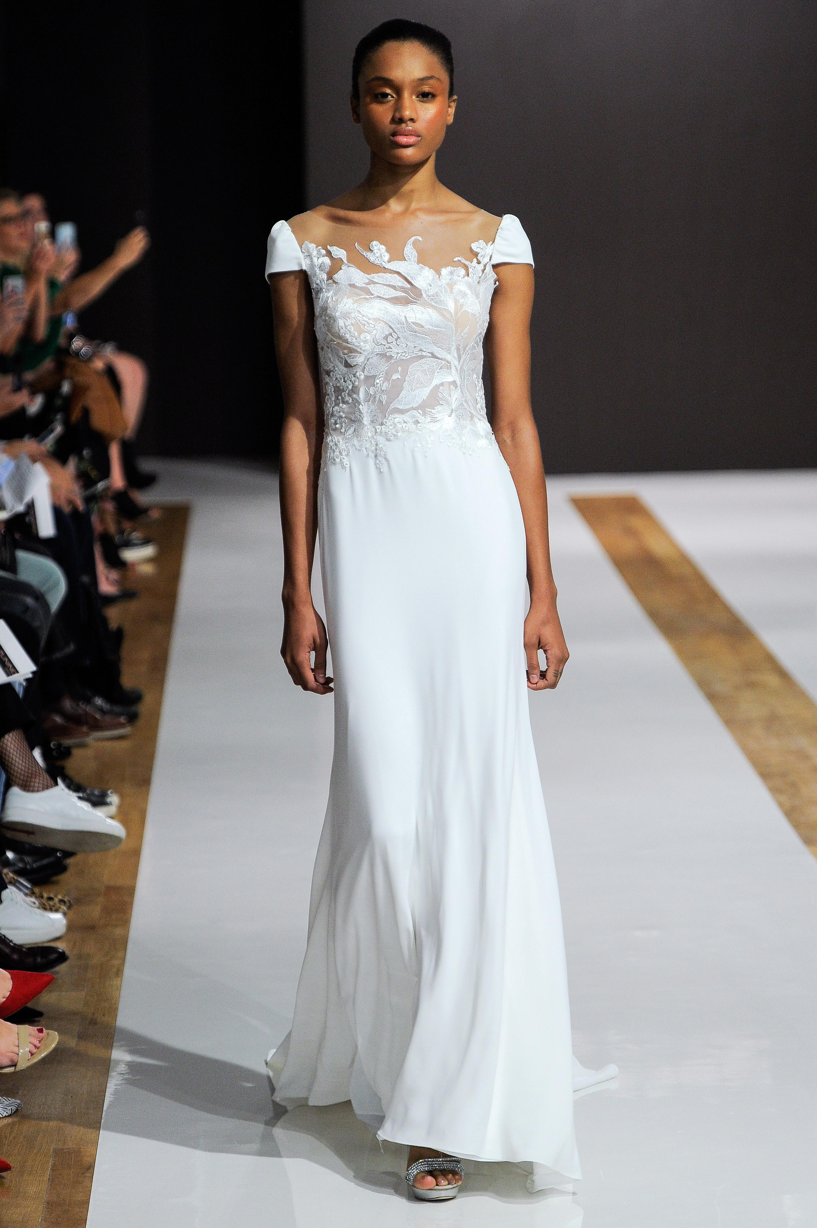 mark zunino wedding dress fall 2018 cap sleeves flowy illusion neckline