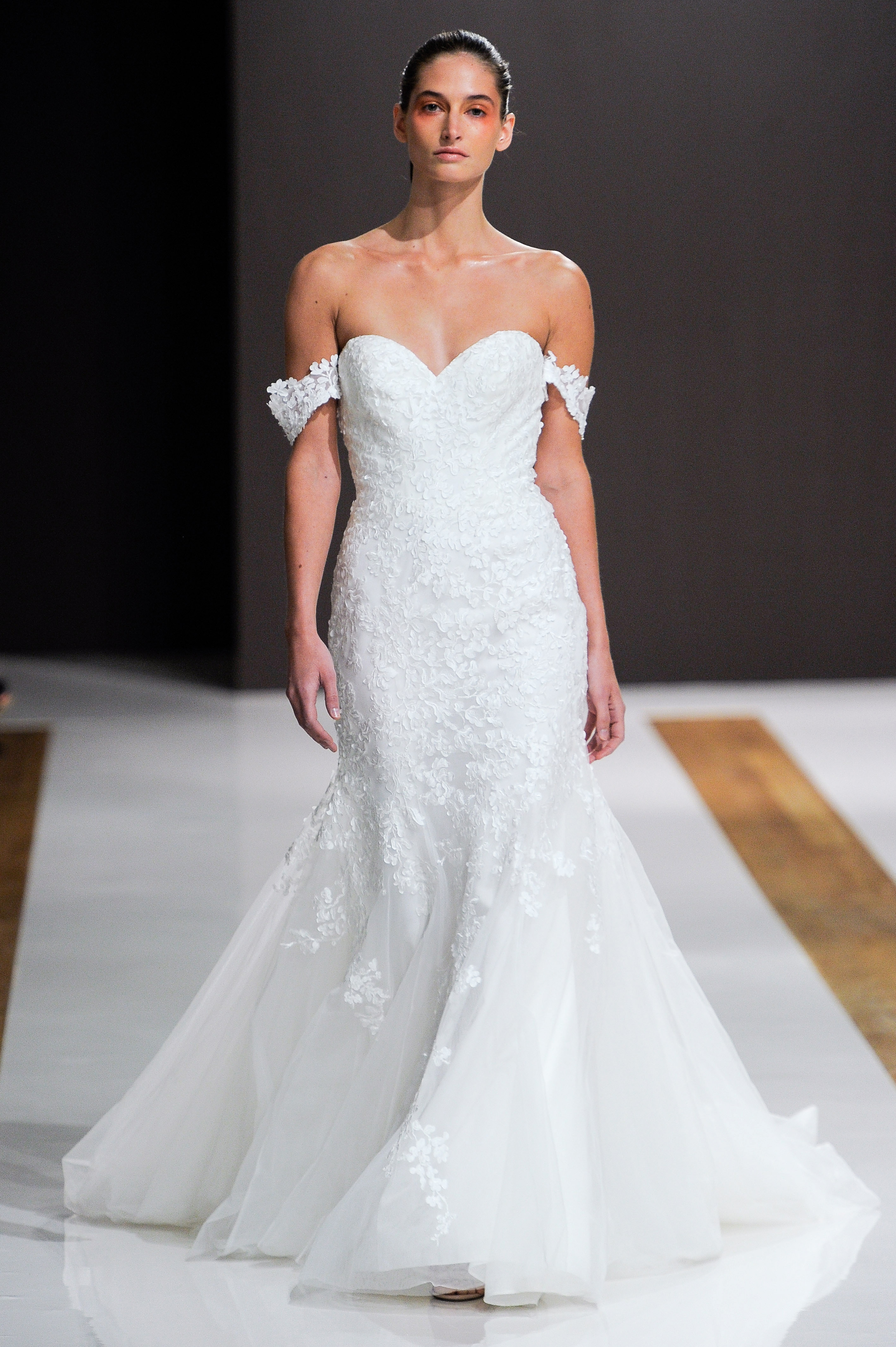 mark zunino wedding dress fall 2018 off the shoulder trumpet sweetheart lace