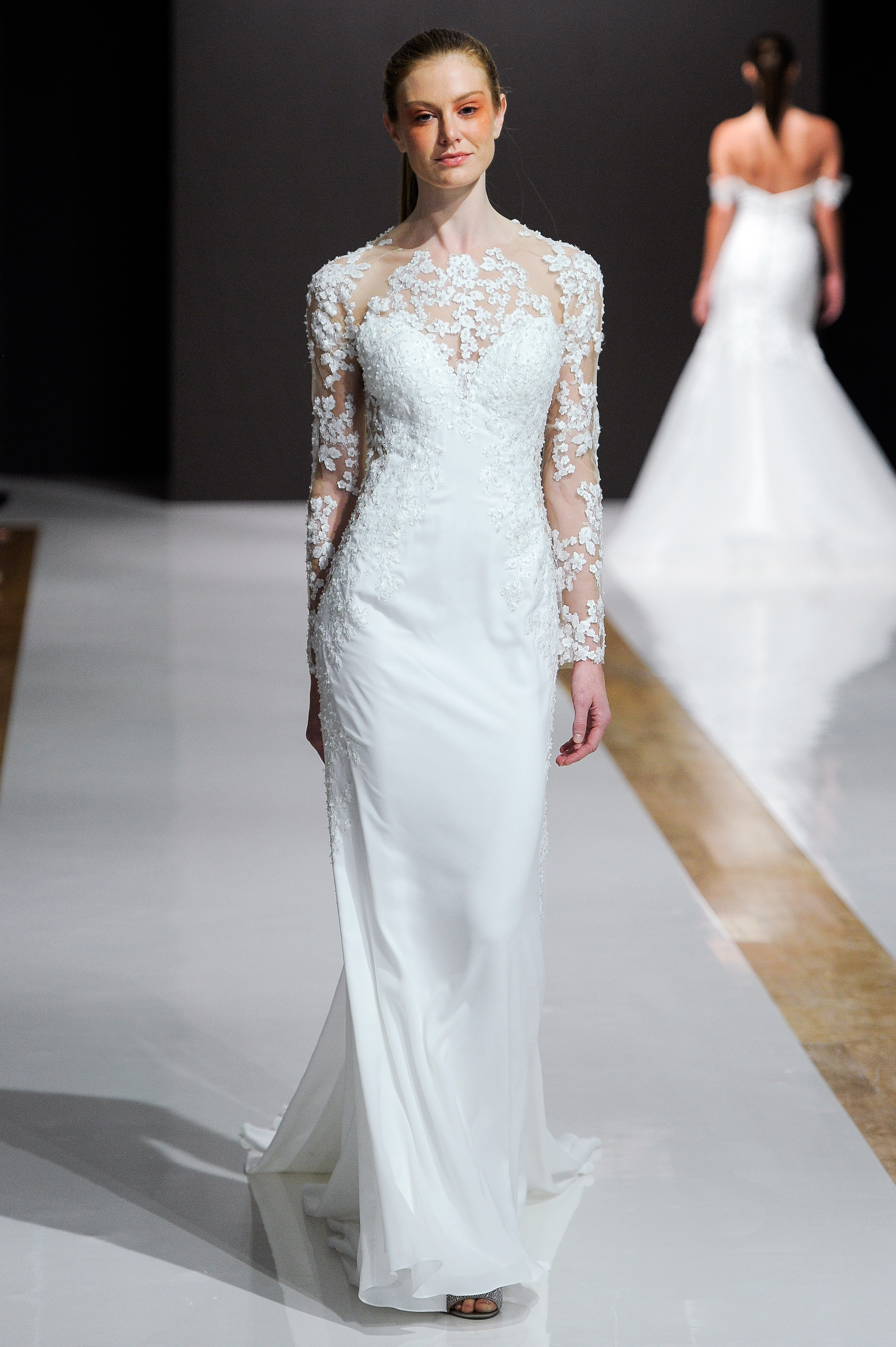 mark zunino wedding dress fall 2018 long sleeves illusion neckline column