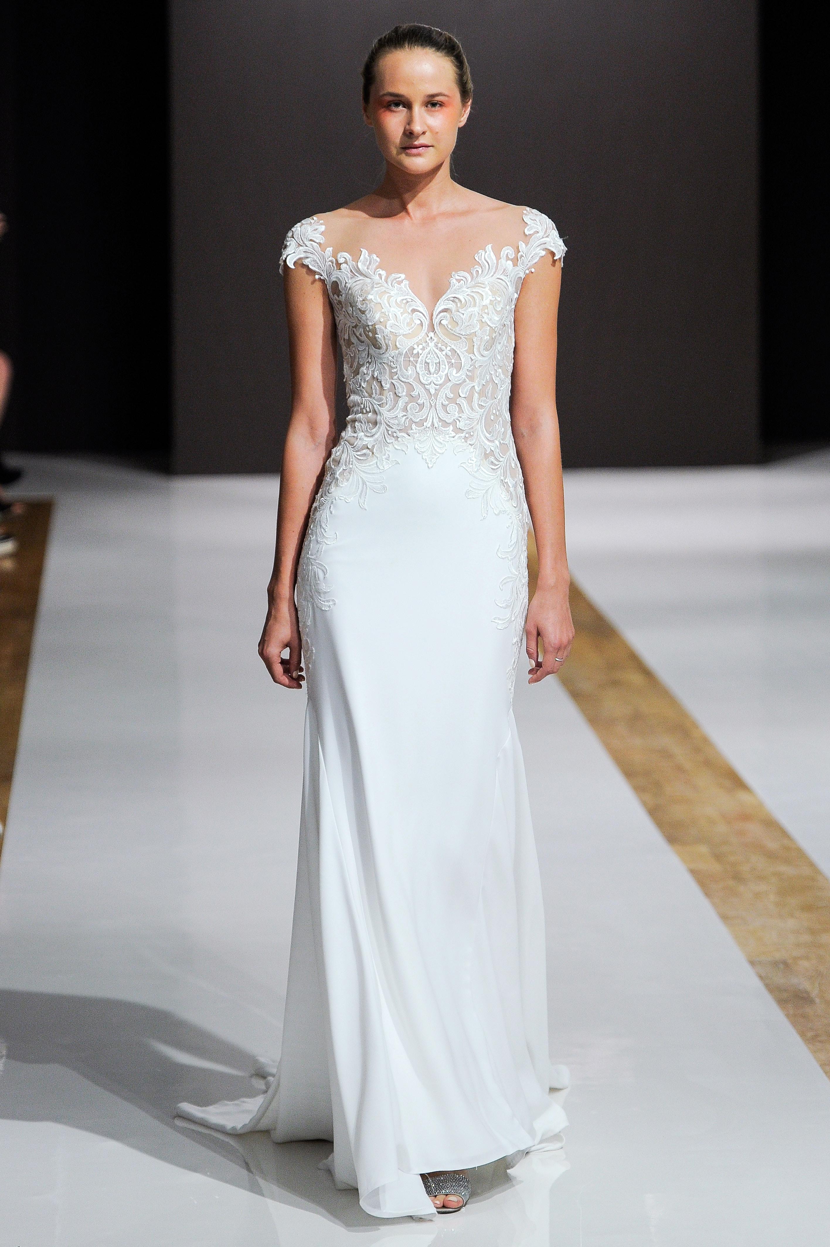mark zunino wedding dress fall 2018 cap sleeves column embellished