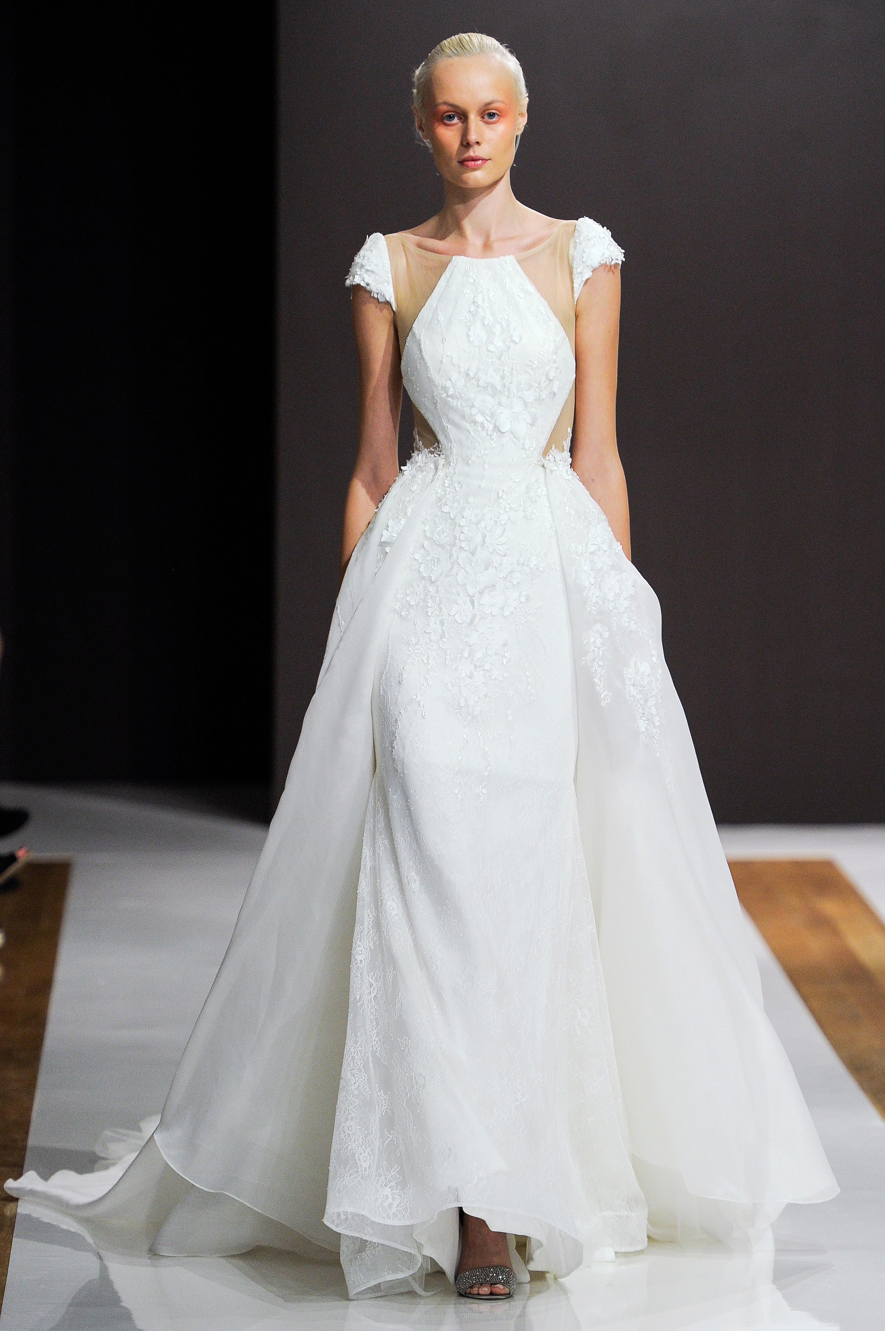 mark zunino wedding dress fall 2018 cap sleeves ball gown pockets