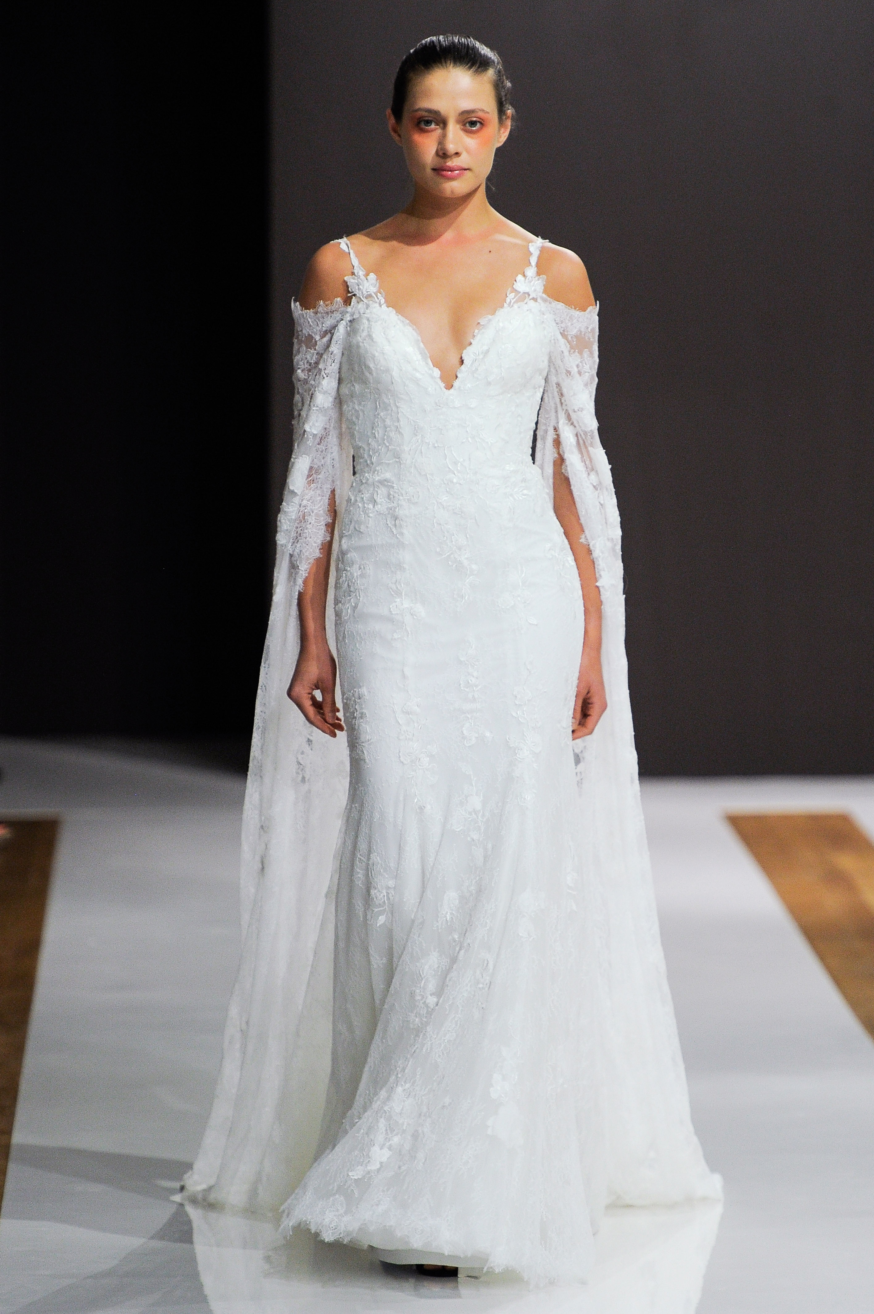 mark zunino wedding dress fall 2018 off the shoulder spaghetti strap lace trumpet