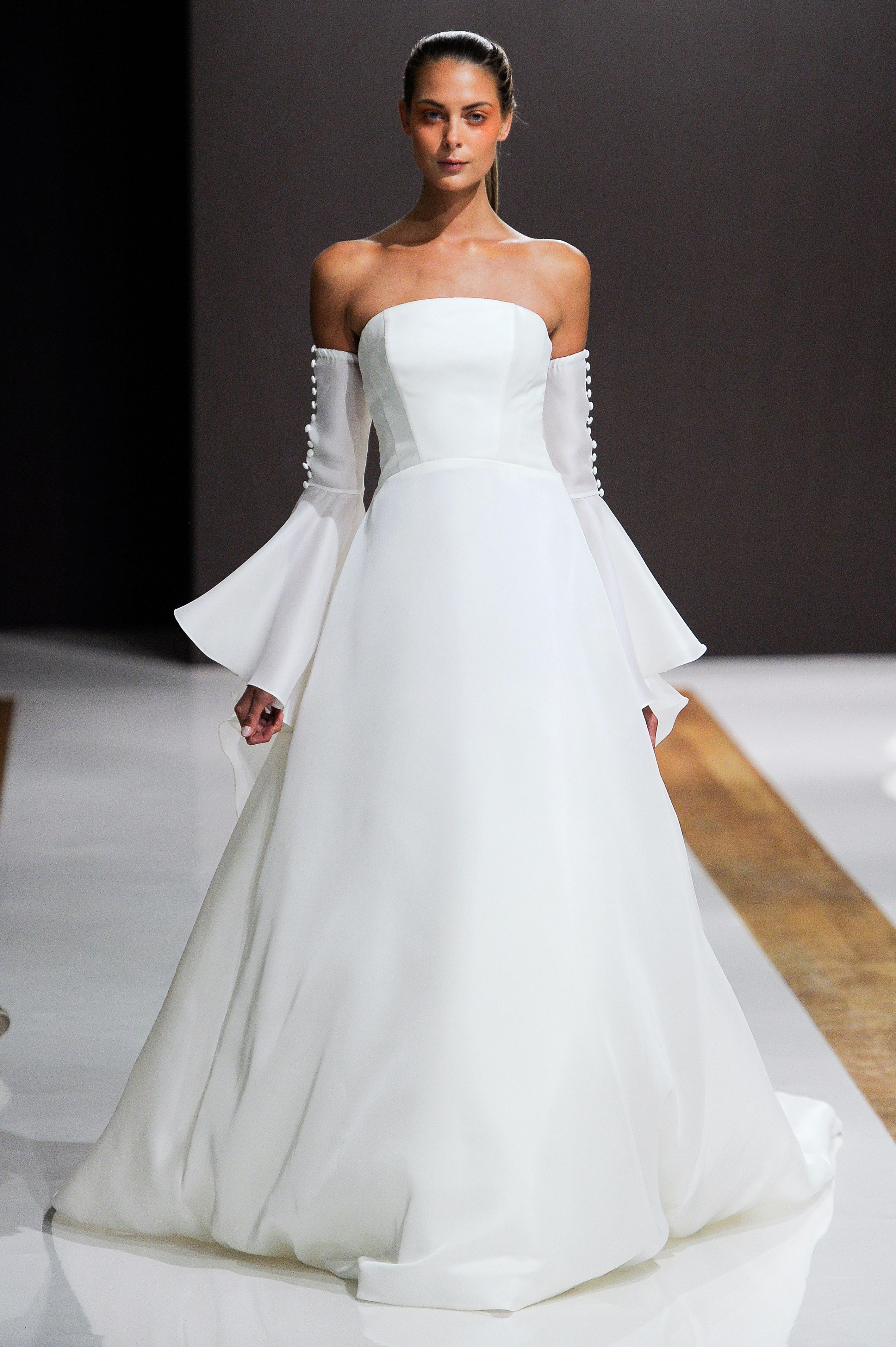mark zunino wedding dress fall 2018 strapless a-line buttons sleeves