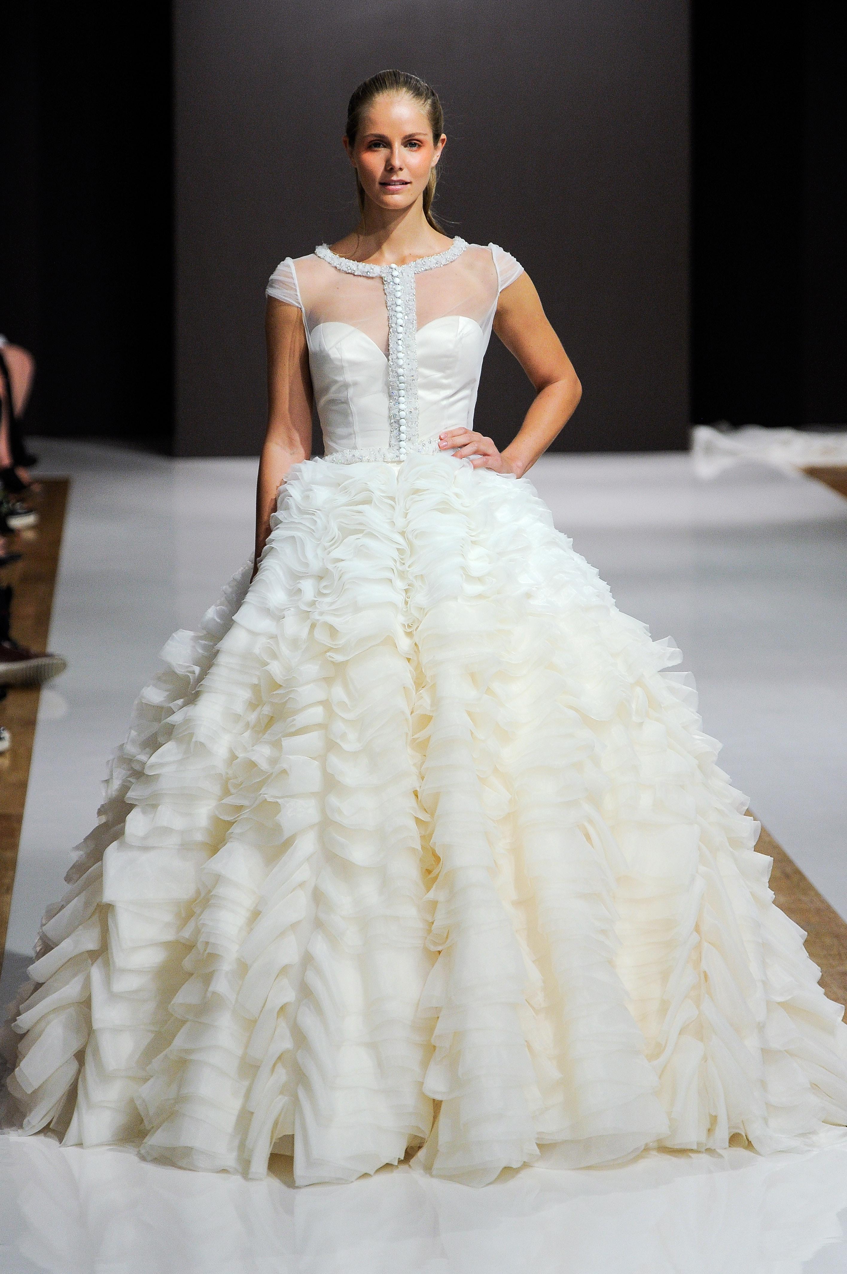 mark zunino wedding dress fall 2018 ruffles ball gown cap sleeves illusion neckline