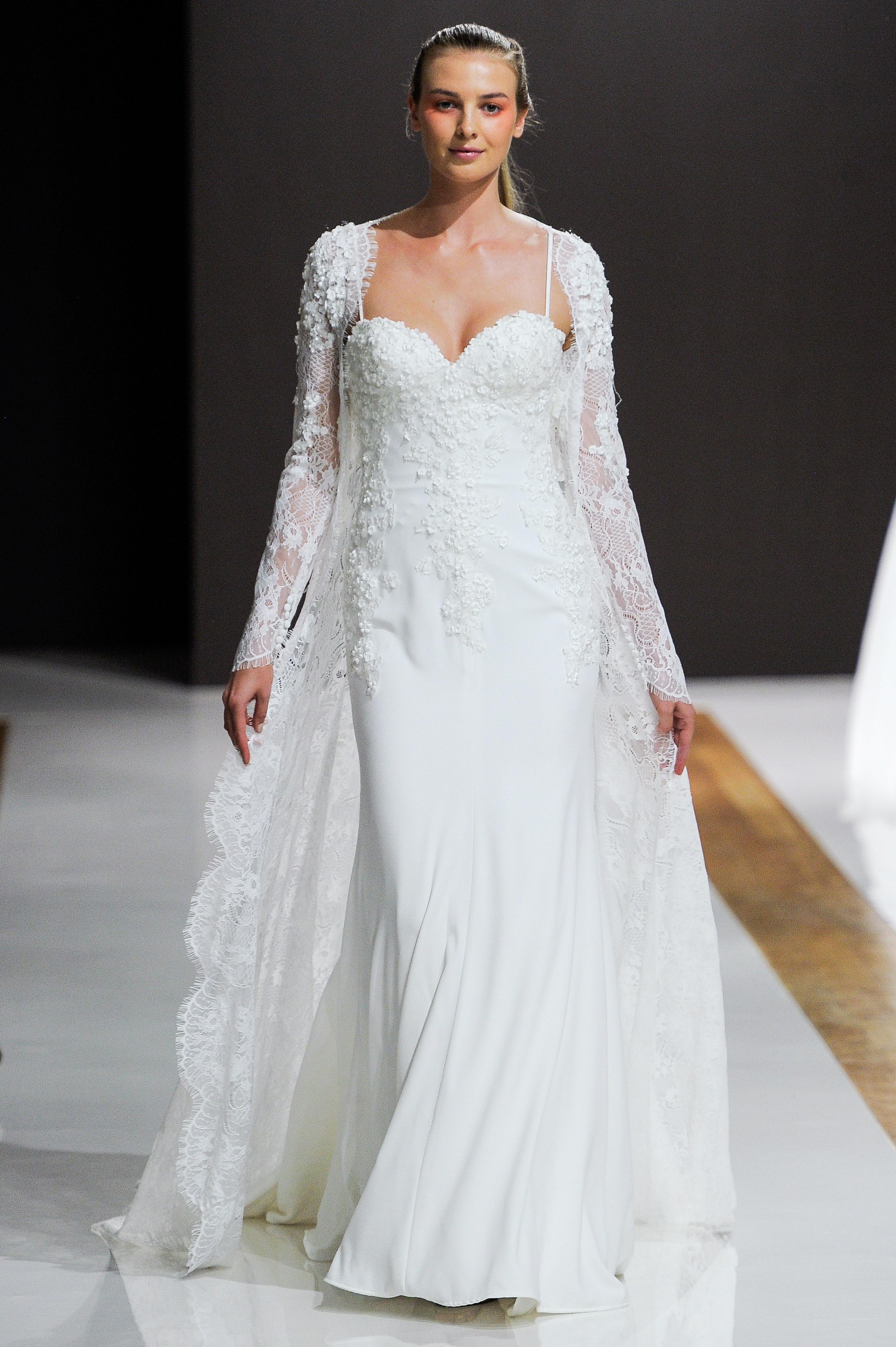 mark zunino wedding dress fall 2018 spaghetti strap embellished sleeves