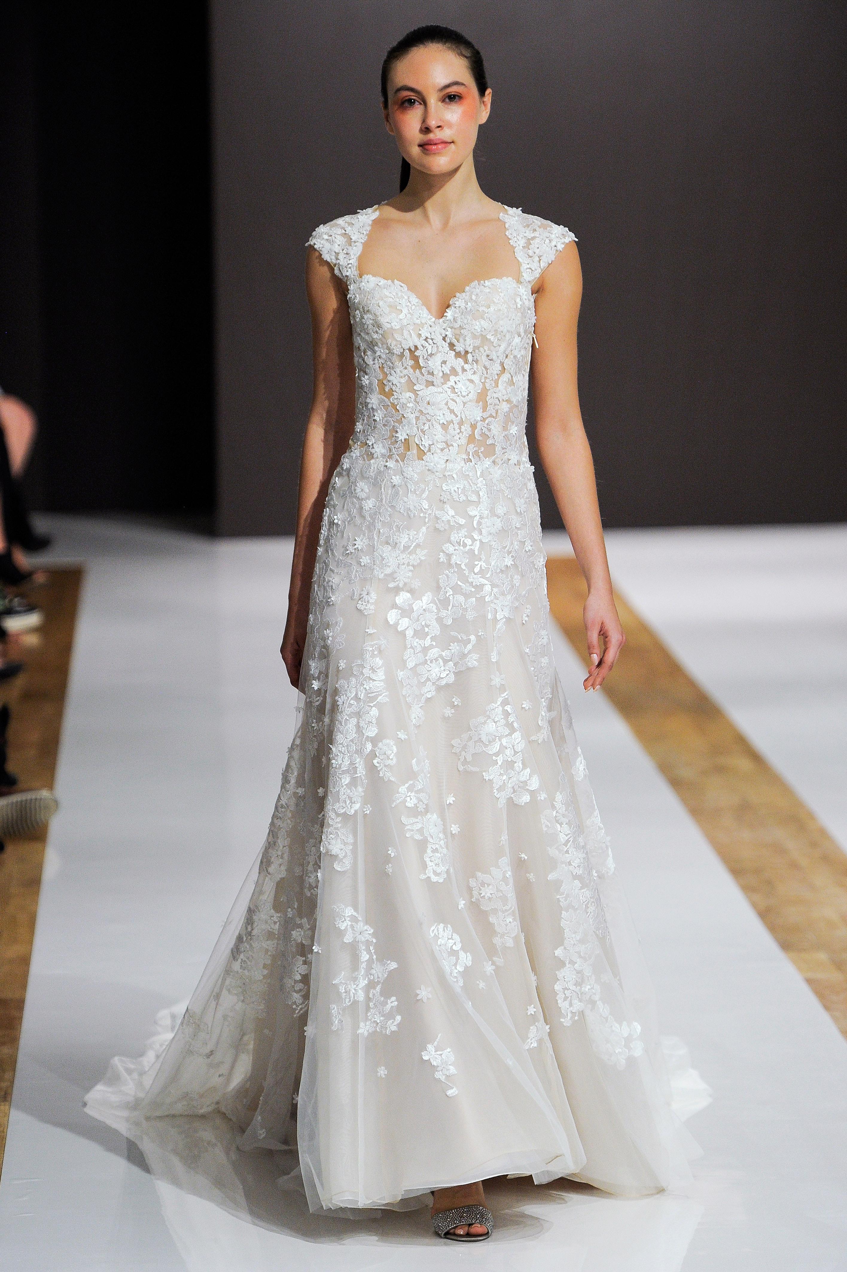 mark zunino wedding dress fall 2018 lace sweetheart cap sleeves