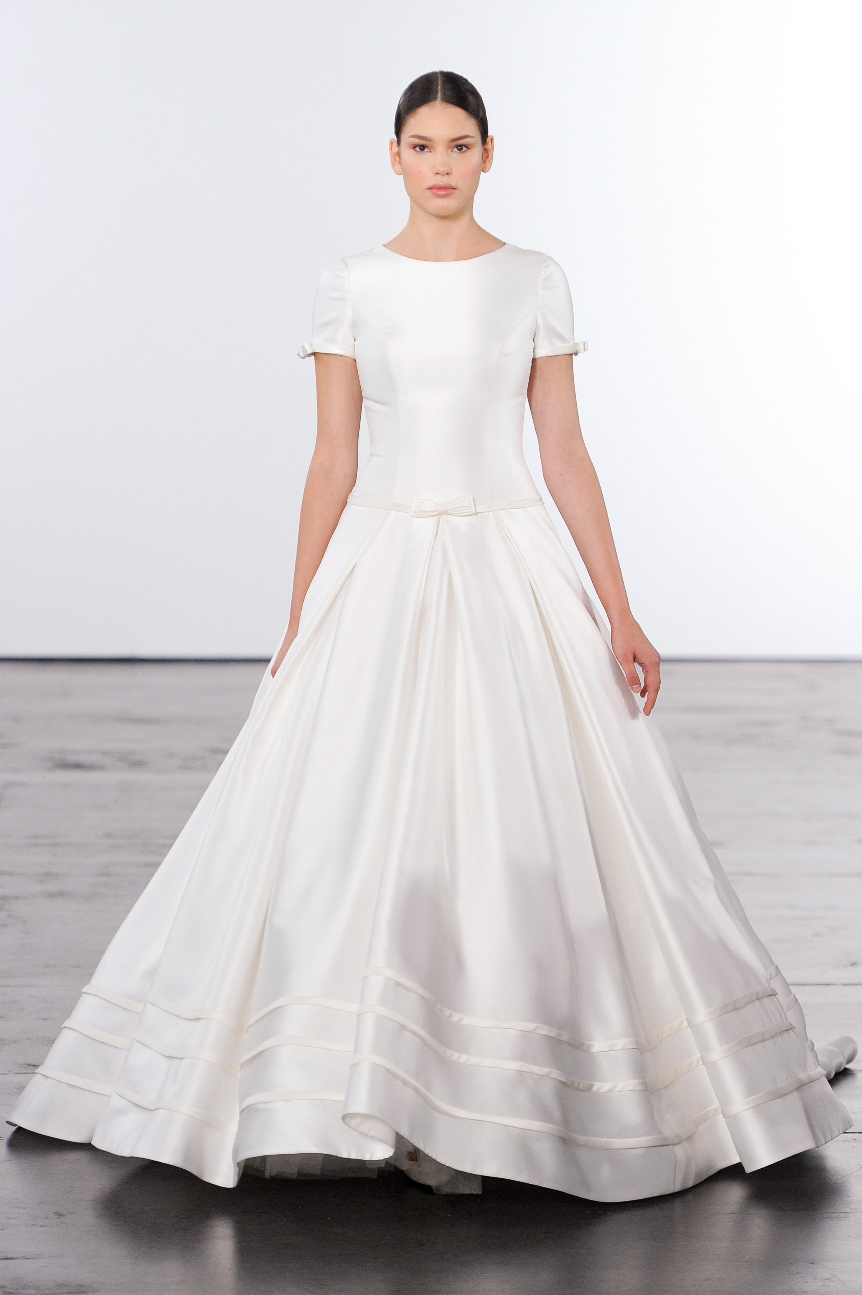 dennis basso a-line wedding dress with sleeves wedding fall 2018