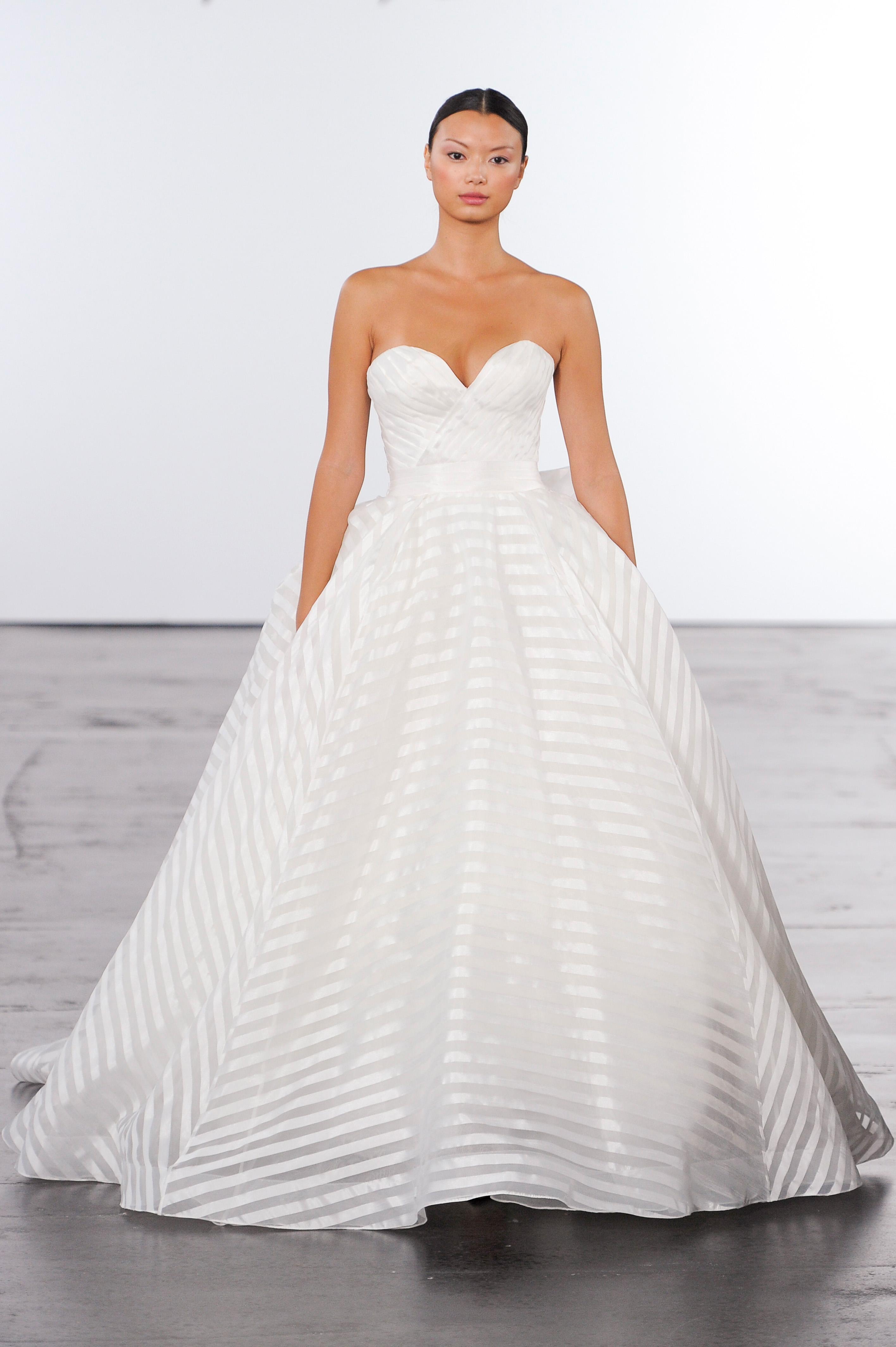 dennis basso sweetheart neckline wedding dress with stripes fall 2018
