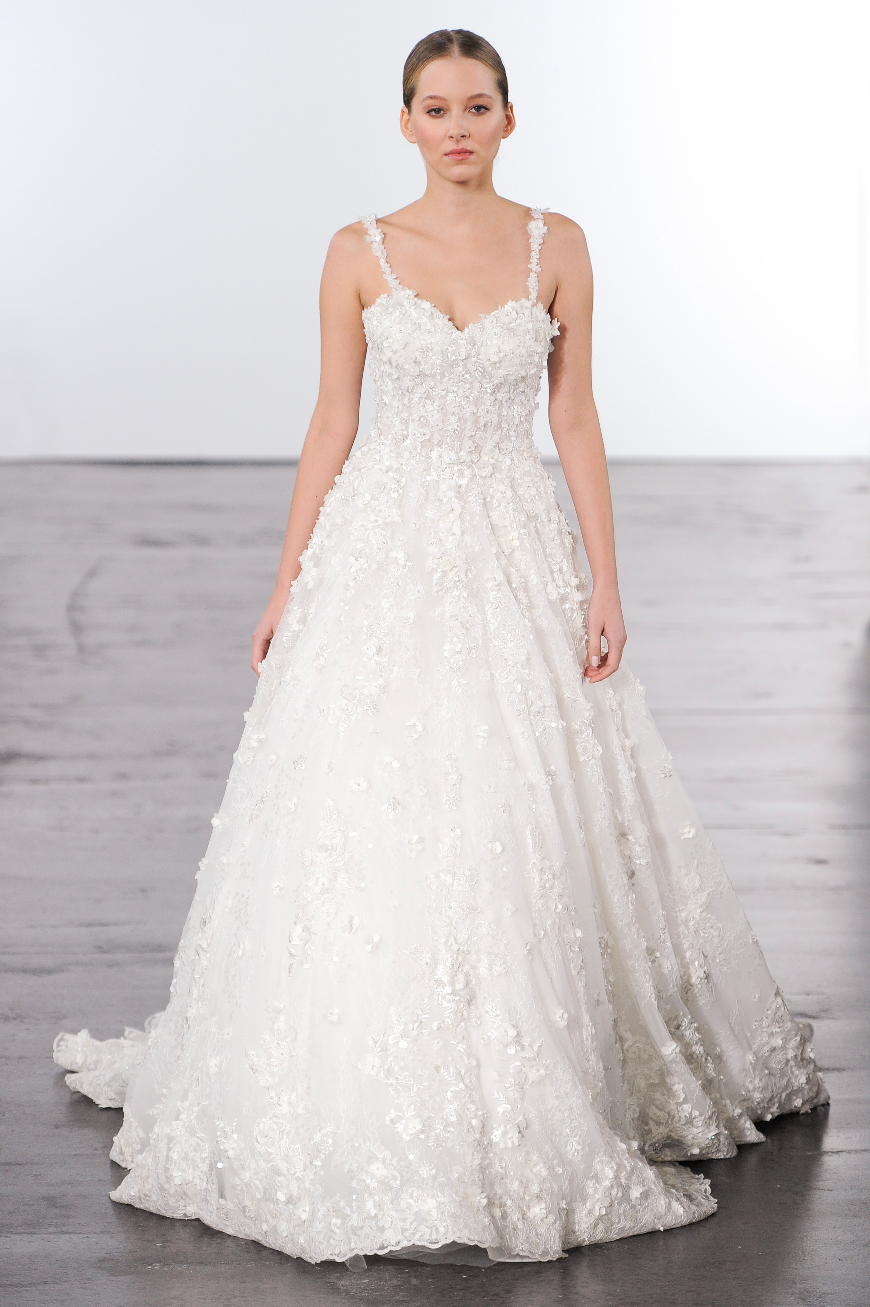 dennis basso spaghetti straps wedding dress with embellishments fall 2018