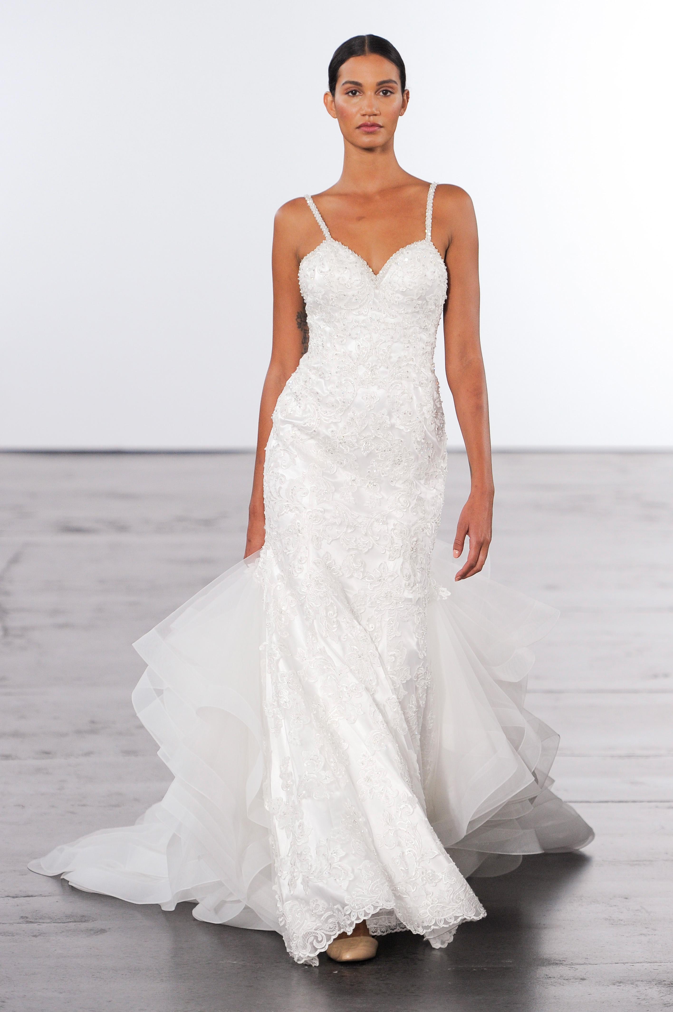 dennis basso lace wedding dress with spaghetti straps fall 2018