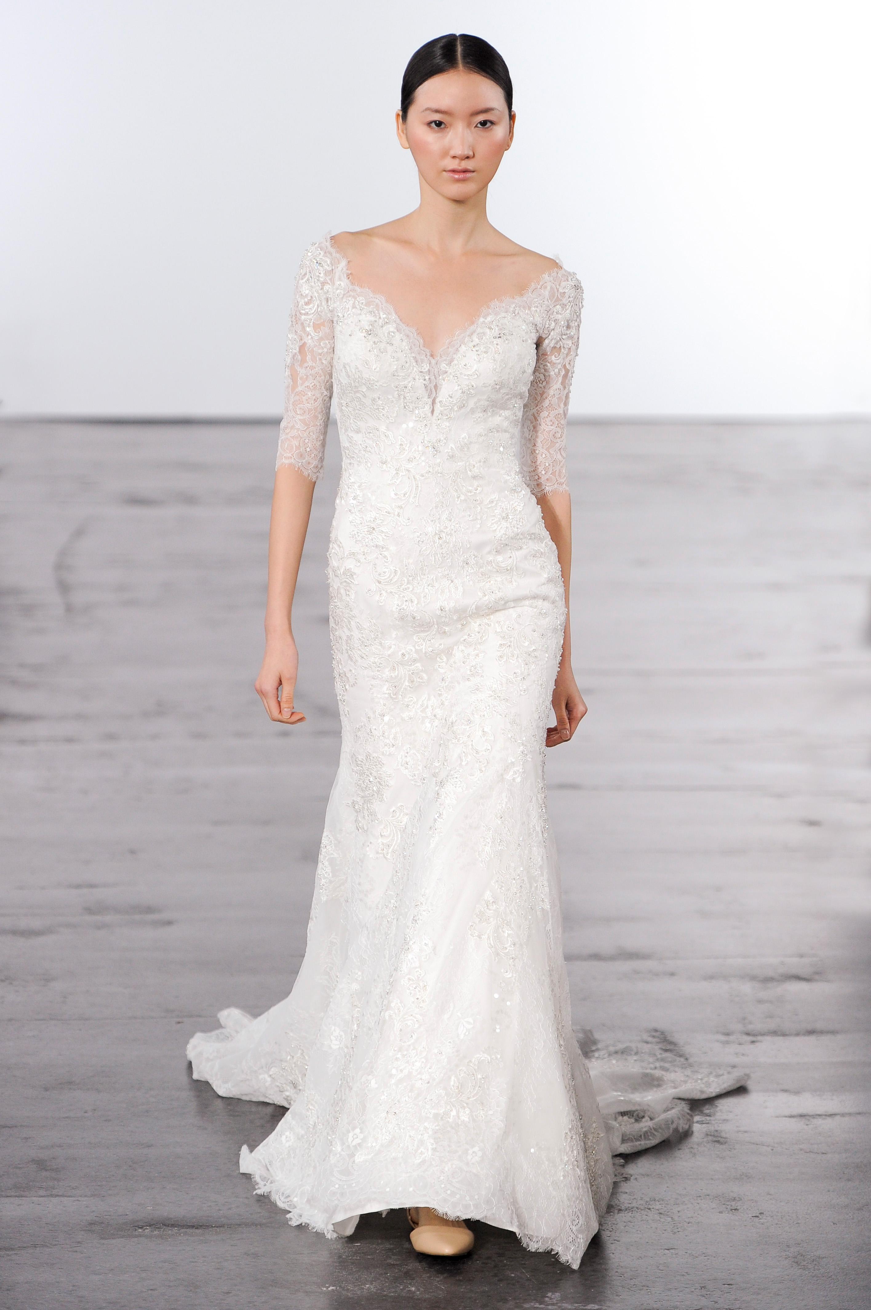 dennis basso three-quarter length sleeves lace wedding dress fall 2018