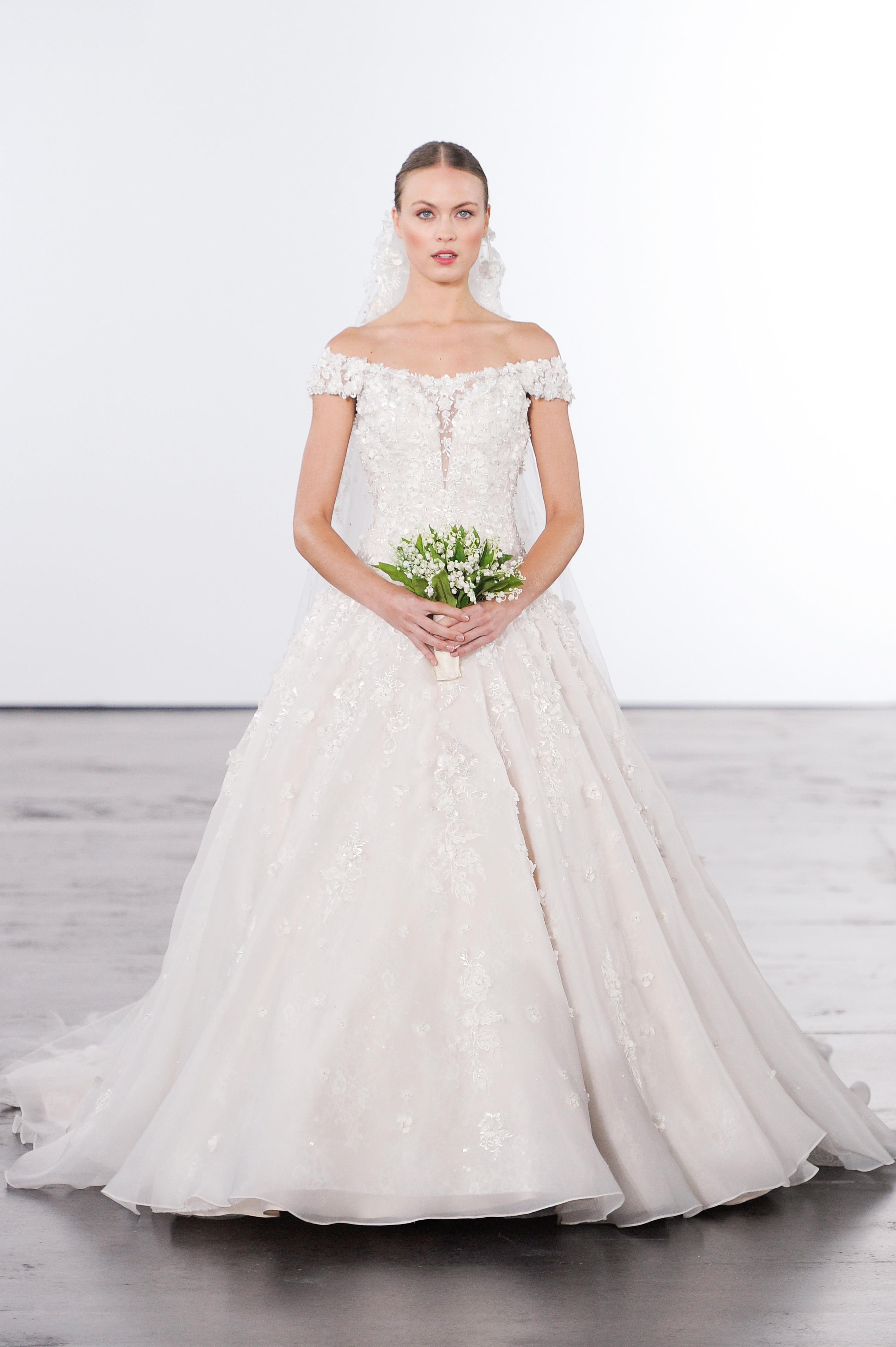 dennis basso off-the-shoulder a-line wedding dress fall 2018