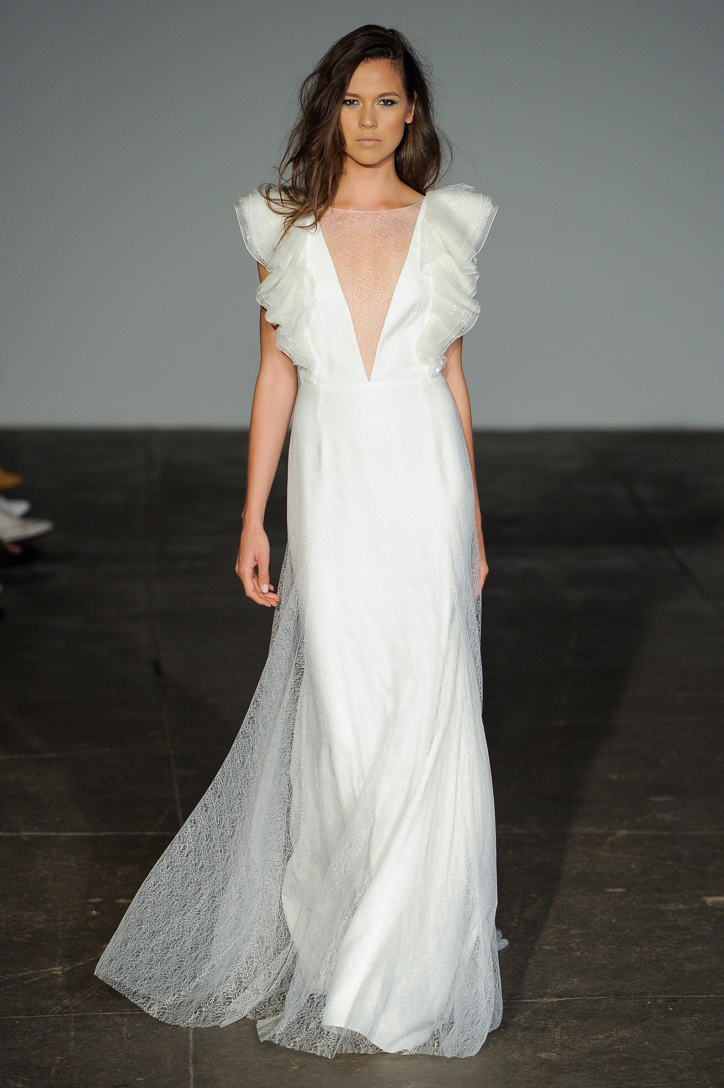 rime arodaky fall 2018 v-neck flutter sleeve wedding dress