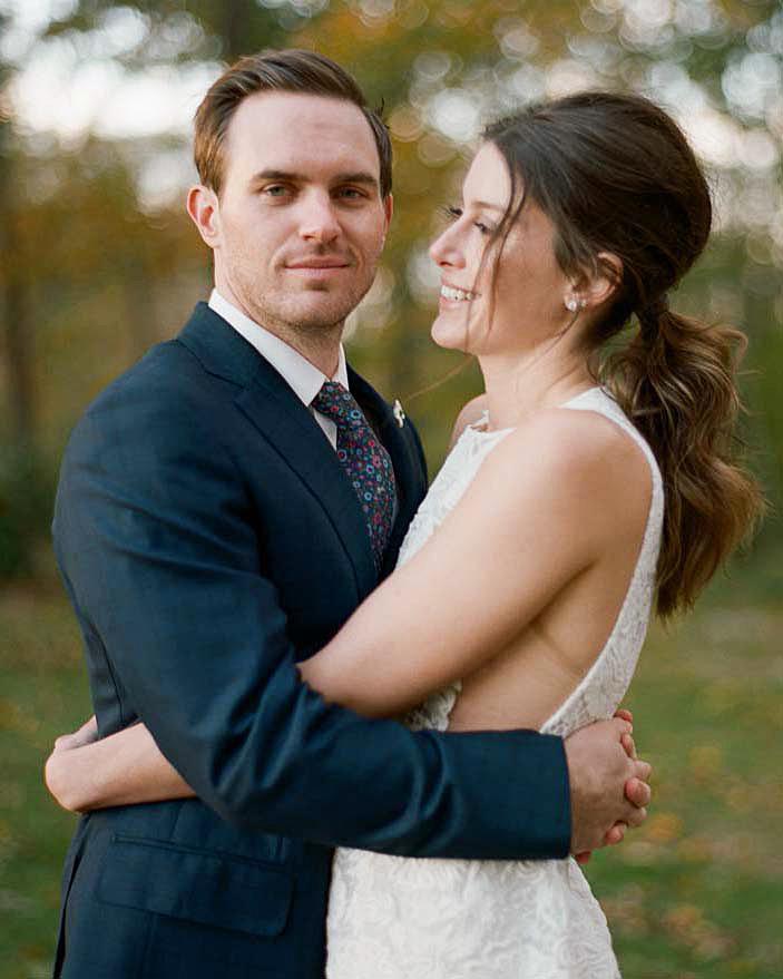 meg nick wedding couple hug