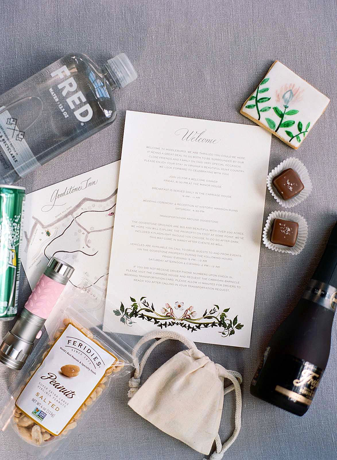 meg nick wedding welcome box inside
