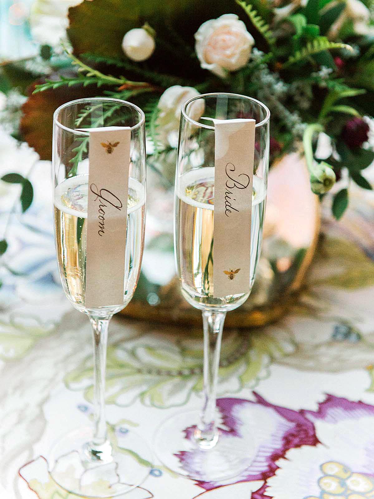 meg nick wedding flutes