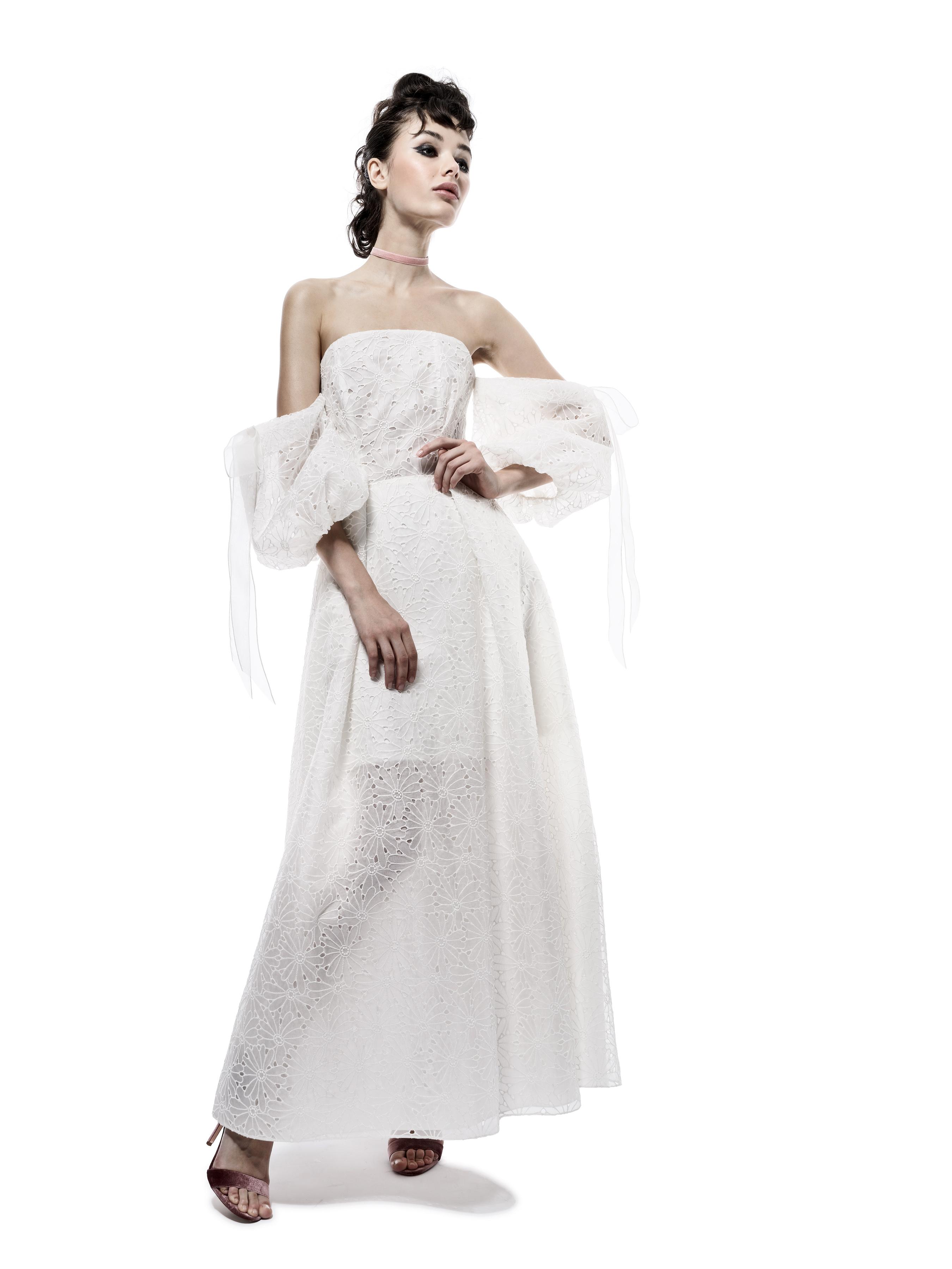 elizabeth fillmore wedding dress fall 2018 eyelet off the shoulder strapless