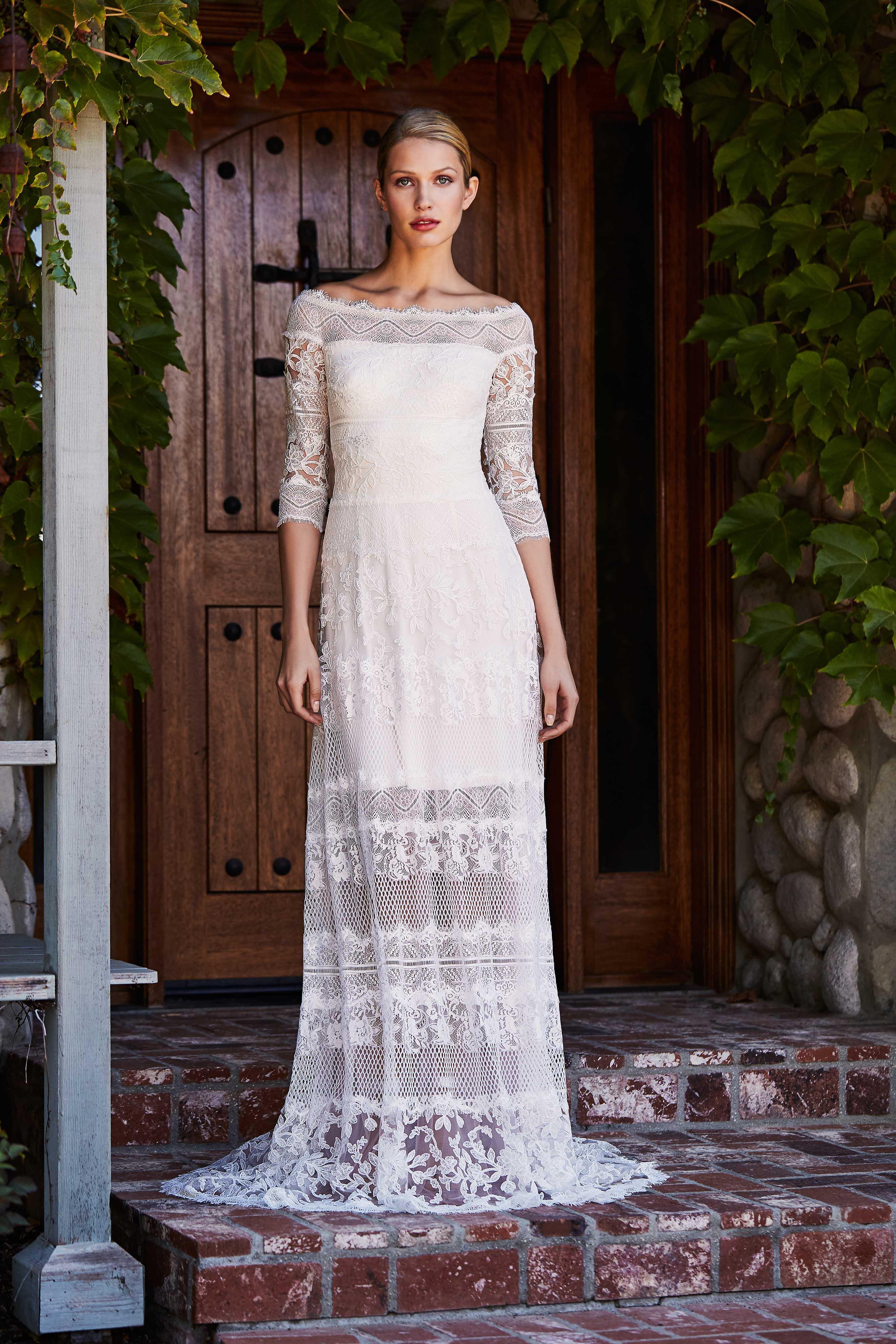 tadashi shoji wedding dress fall 2018 off the shoulder lace