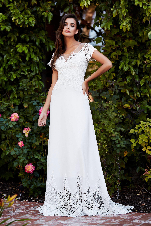 tadashi shoji wedding dress fall 2018 short sleeve v-neck